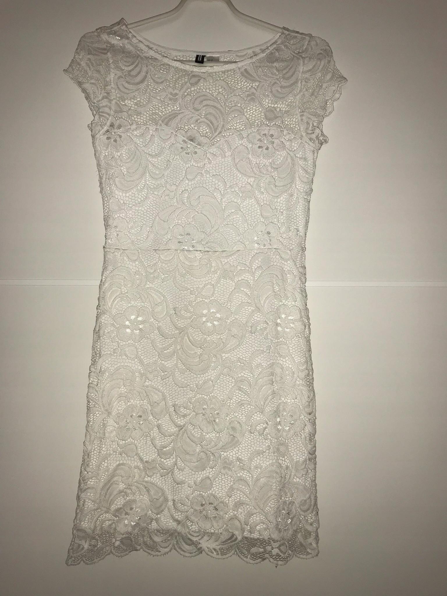 d9966f1c56 Koronkowa sukienka biała H M 38 gołe plecy - 7440649830 - oficjalne ...
