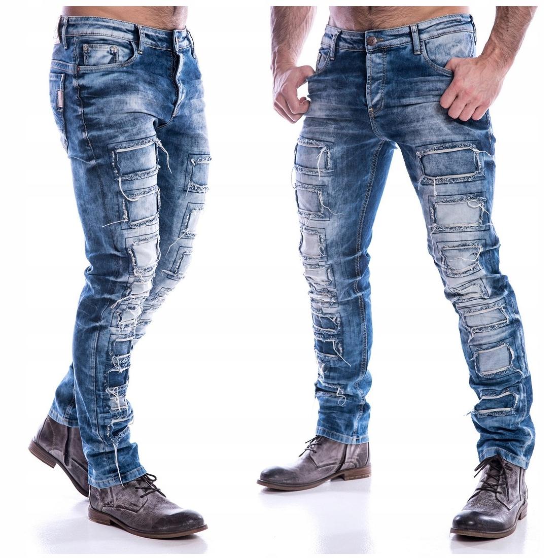 Spodnie Cipo Baxx Jeansy Łaty Blue Slim 7178657352