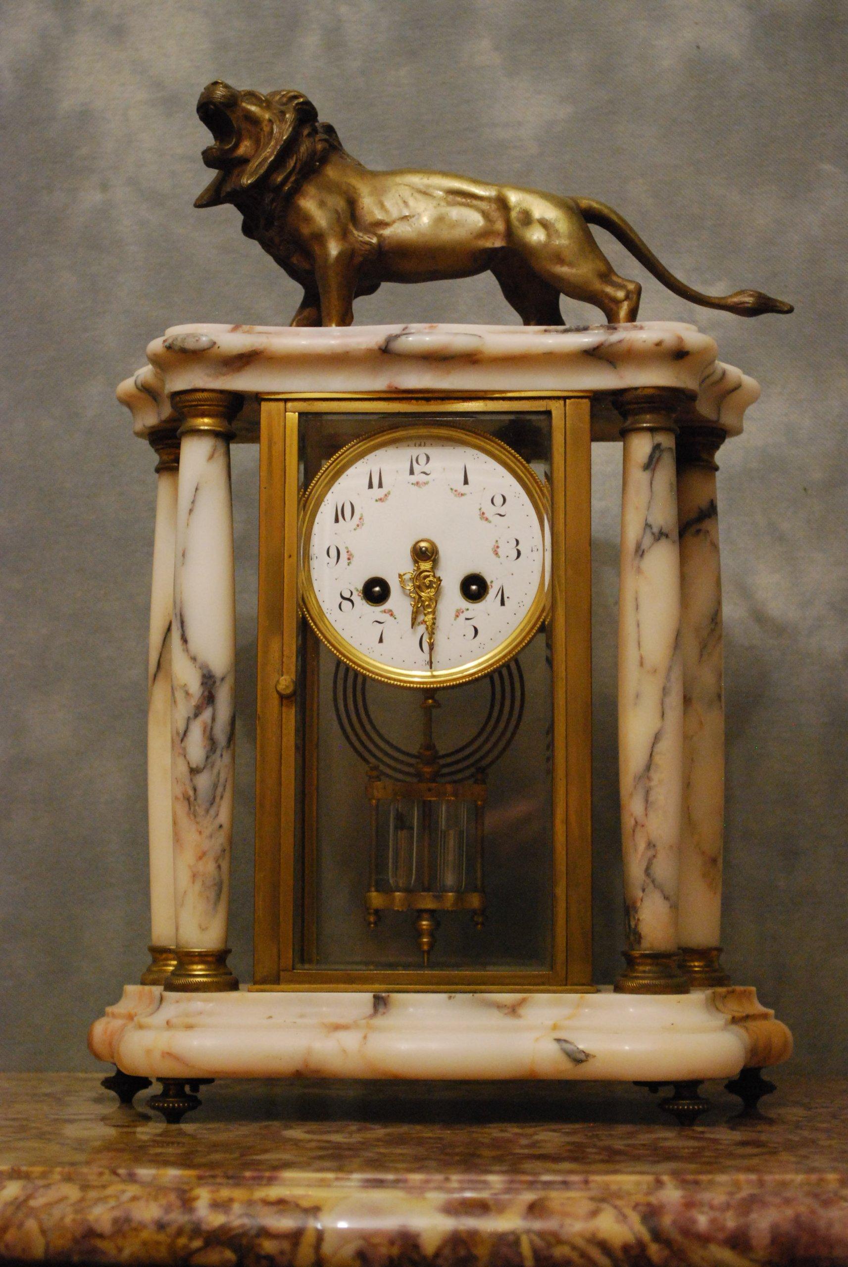 Zegar Na Kominek Z Lwem Kolumnowy Francja Xix W