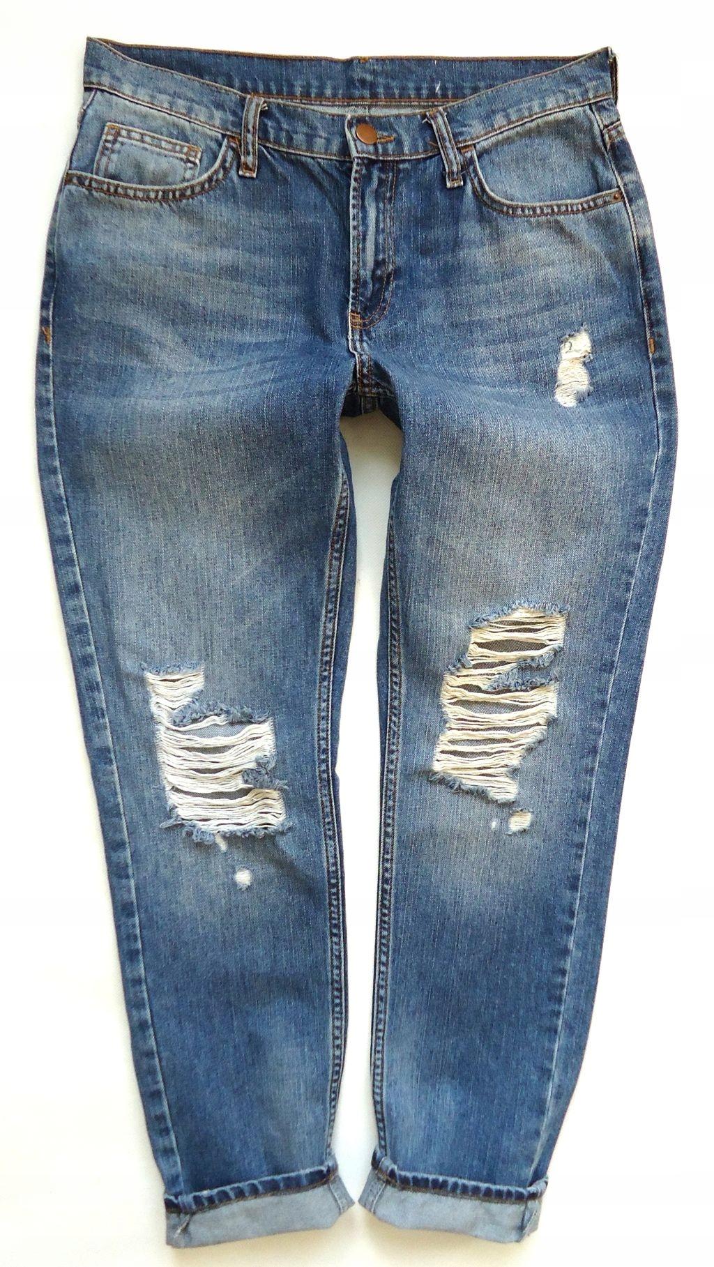 f45c468f22a4 DENIMco spodnie rurki MOM jeans dziury 36 38 - 7650953302 ...