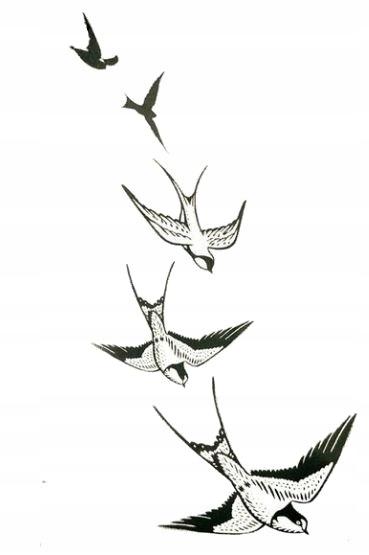 Jaskółki Tatuaże Tymczasowe Naklejka Z Ptakami M49