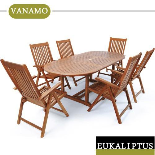 Meble Ogrodowe Drewniane Zestaw 1 Stol 6 Krzesel 7716180916