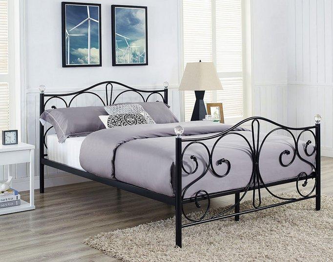 łóżko Czarne Metalowe Ze Stelażem 160x200 Kryształ