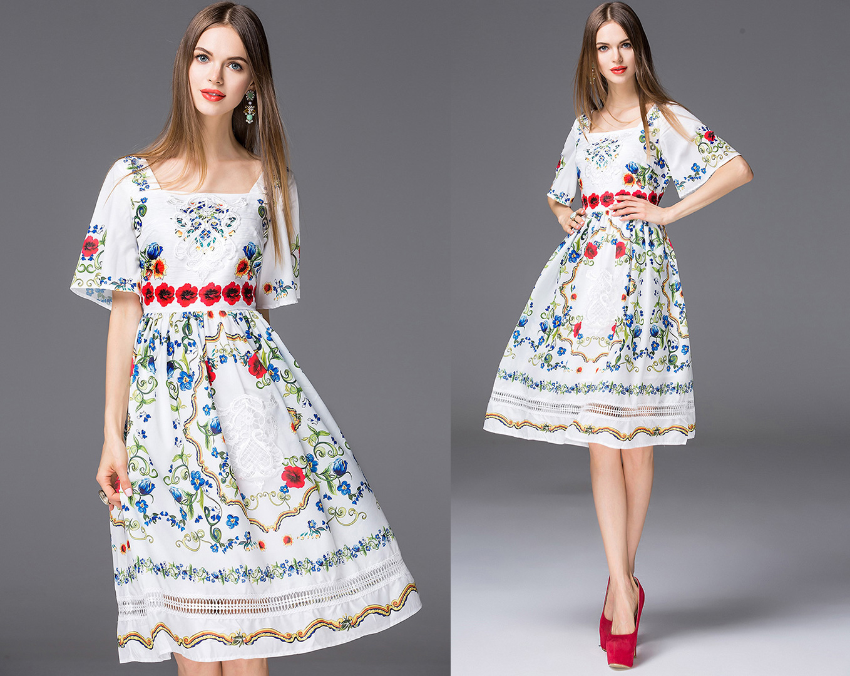8fe9dd4b Folkowa sukienka cepelia ludowa koronkowa haft 36 - 7358242654 ...