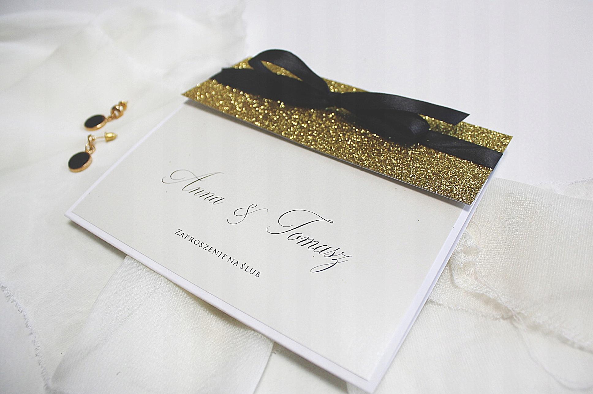 Zaproszenia ślubne Glamour Brokat Złote Czarne Hit 7464431926