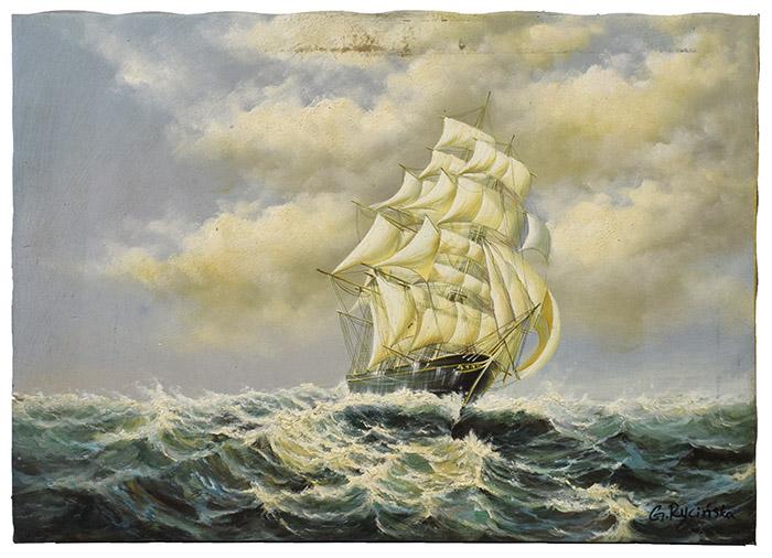 Wszystkie nowe G. Rycińska olejny obraz statek na morzu 70x50 cm - 7365259022 OA91