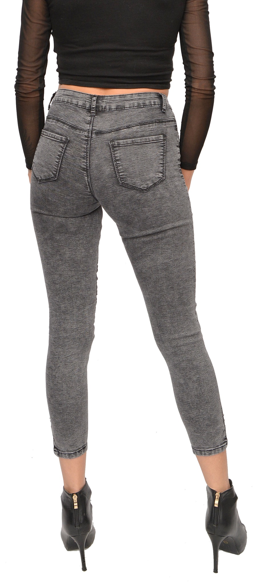7becb12e DM6311F2 szare SPODNIE jeansy DEKAT z cekinami 28 - 7192343182 ...