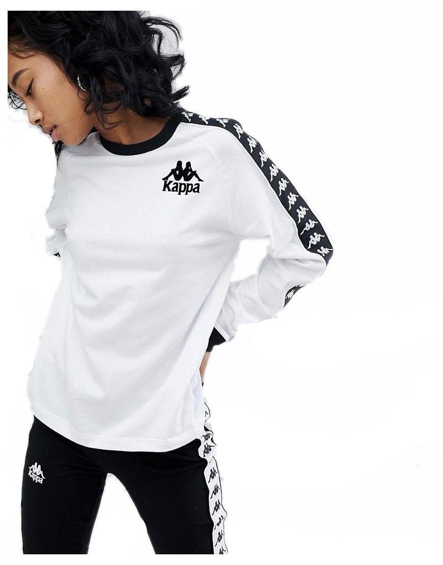 sprzedaż uk dobra sprzedaż topowe marki kappa bluzka biała longsleeve logo bluza M 38 - 7218503385 ...