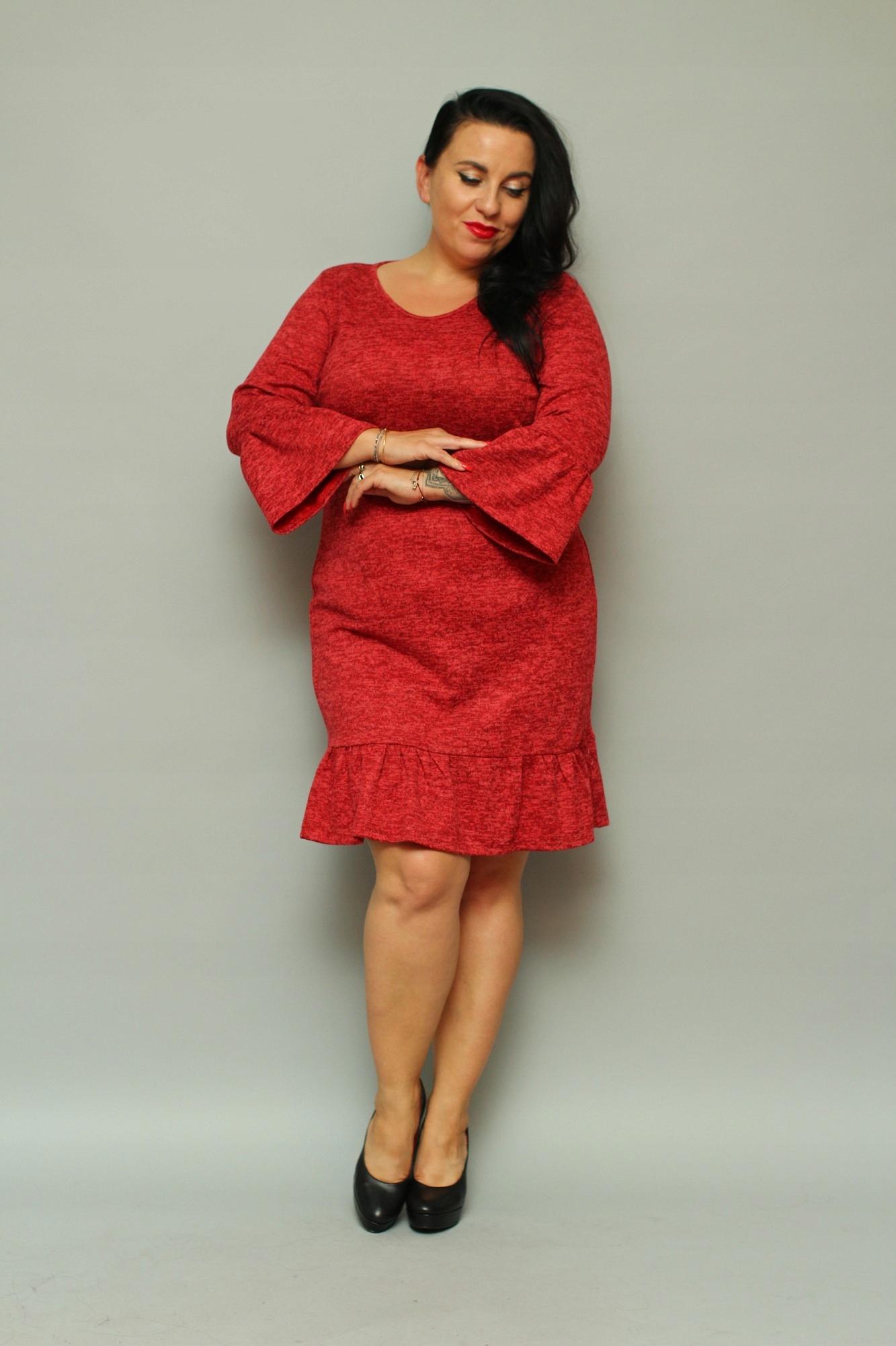 632e431401 Sukienka LUIZA angora z falbaną czerwona 52 - 7632041279 - oficjalne ...