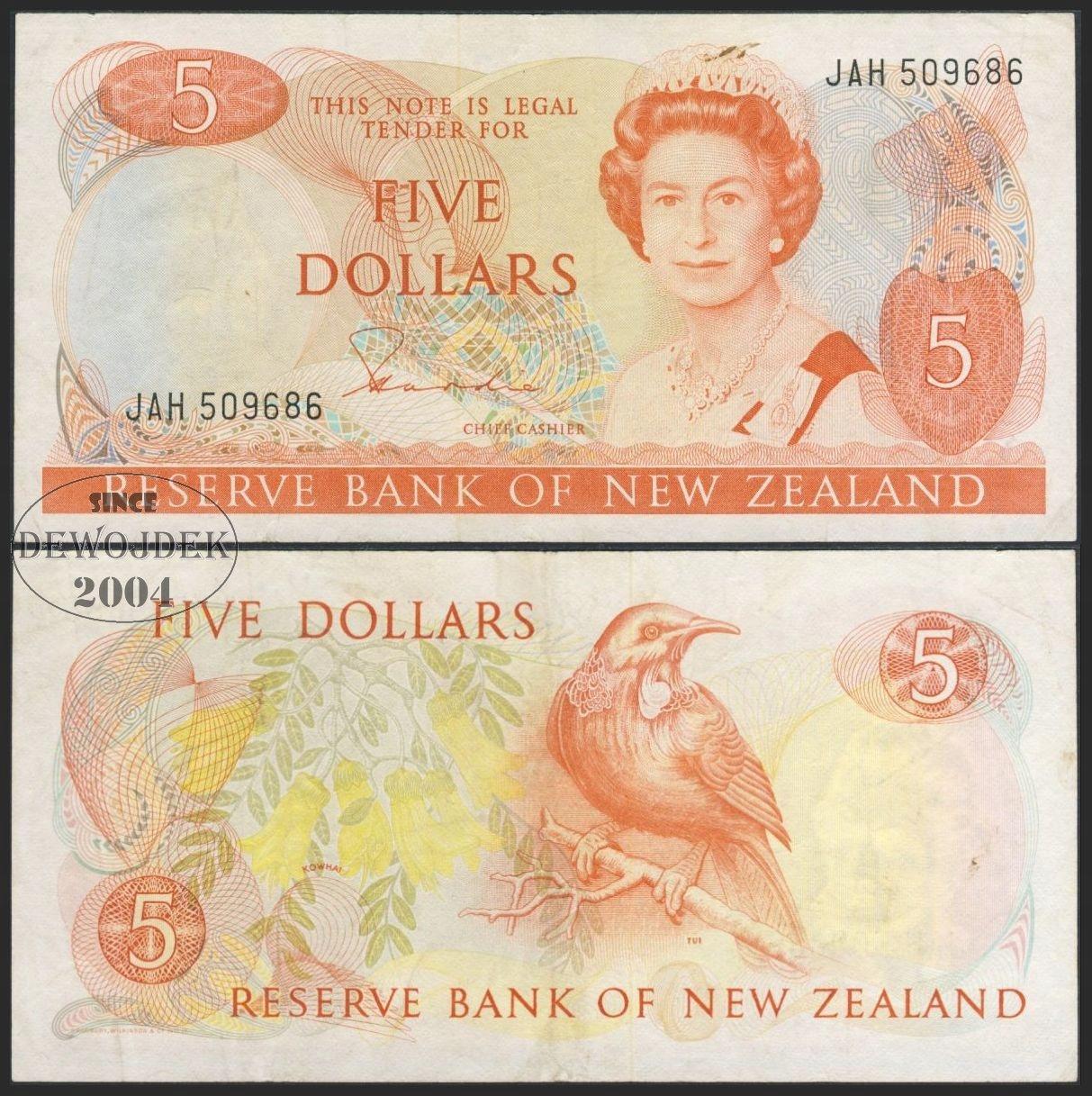 MAX - NOWA ZELANDIA 5 Dollars 1981 r # P171a # VF-
