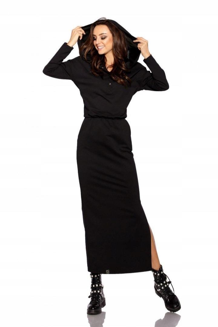 ebebda73a1 Dresowa sukienka maxi z kapturem L287 czarny - 7676524633 ...