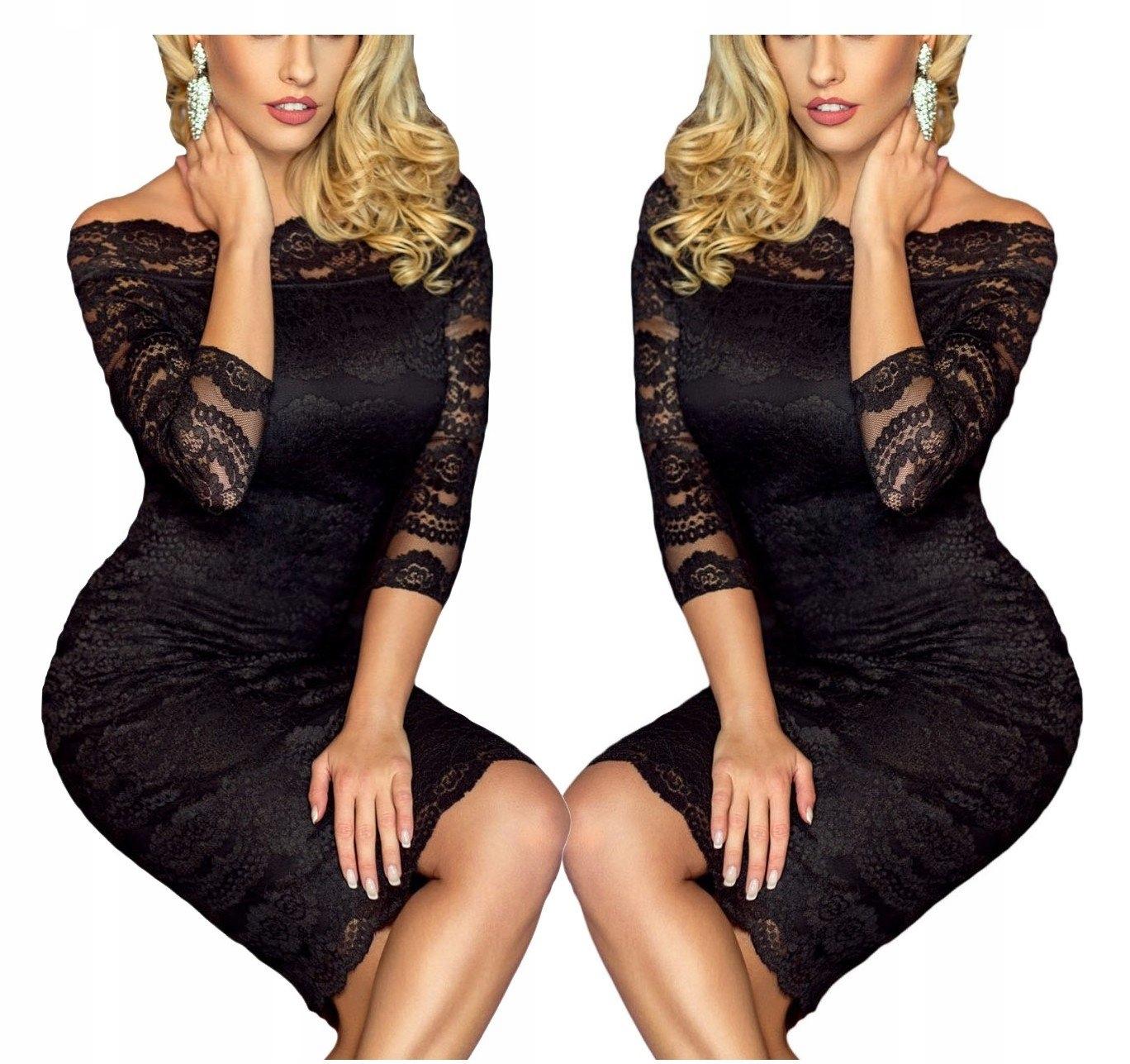2f7242372c Sukienka koronkowa koktajlowa 61291 czarna tu 44 - 7079873815 ...