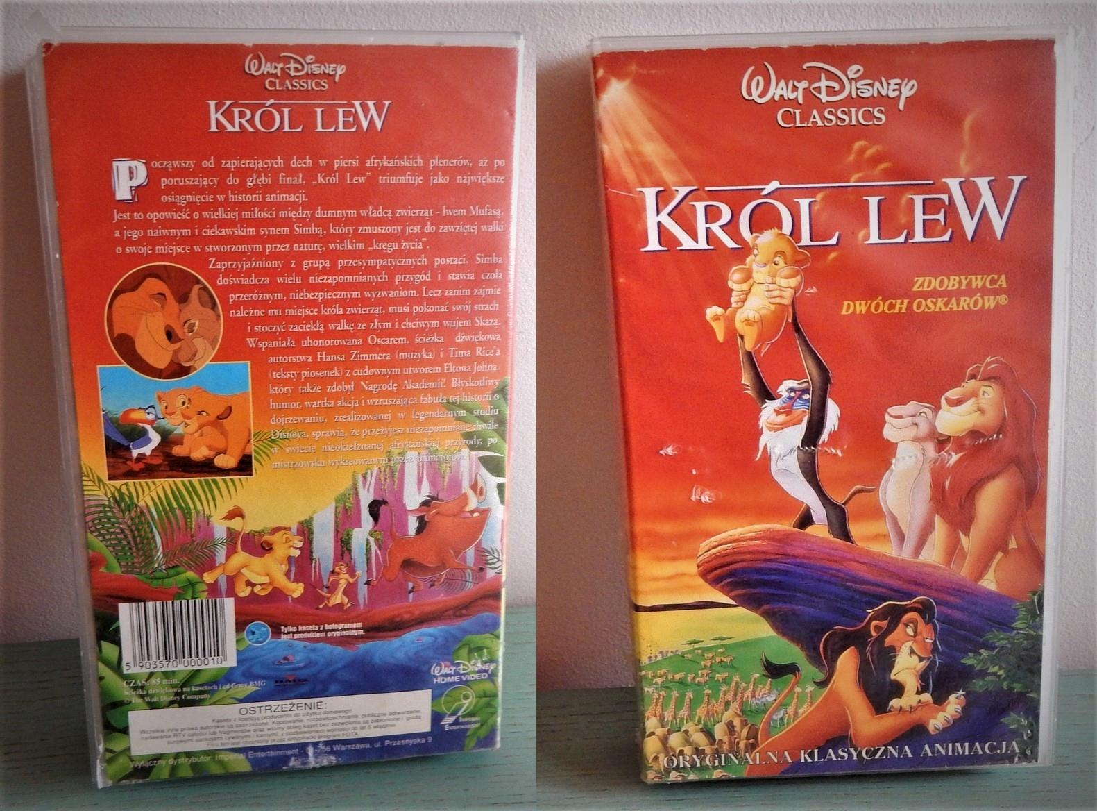 VHS - KRÓL LEW - 3 POLSKIE DOBRANOCKI