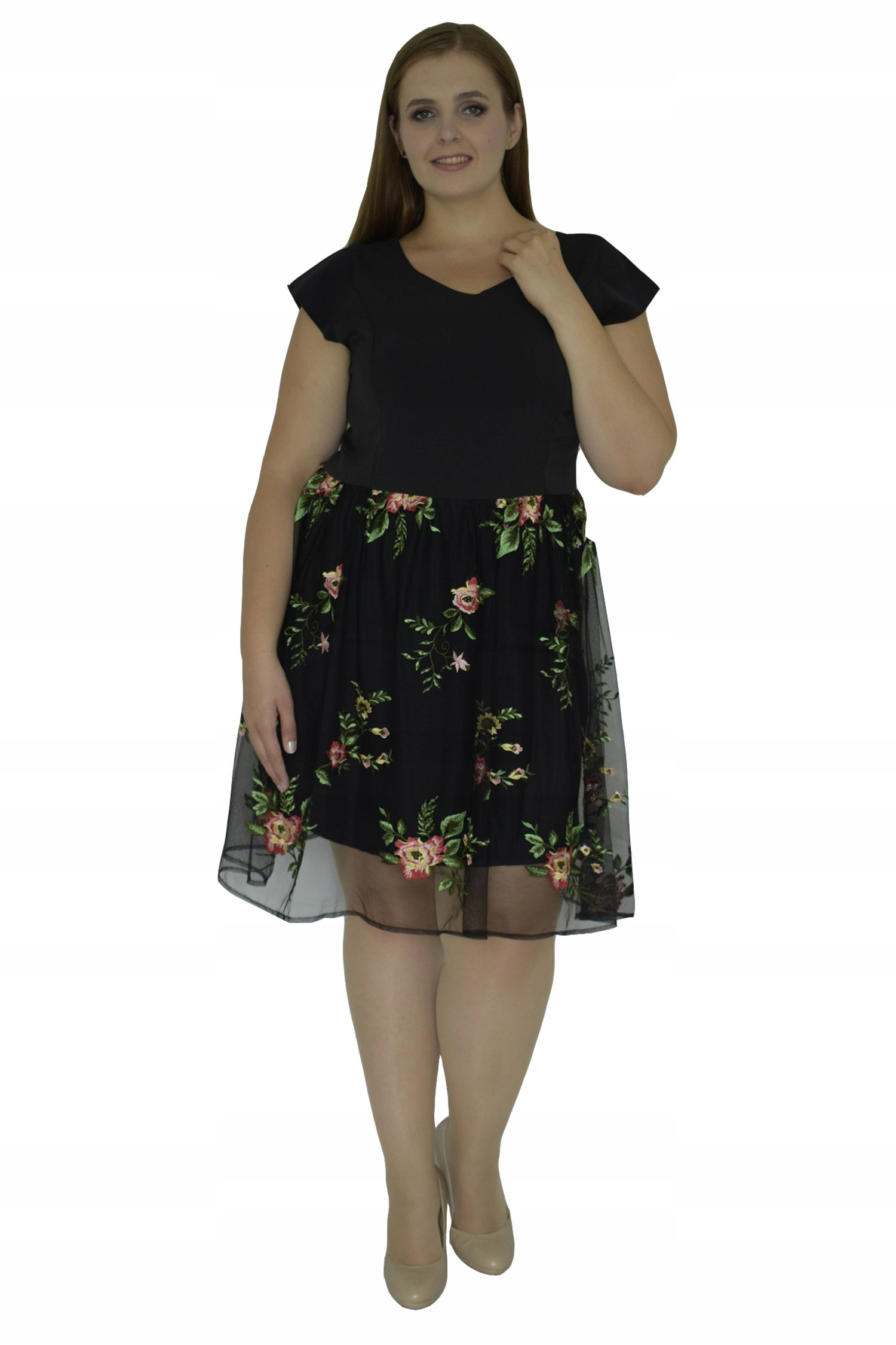 b6e9fde860 Sukienka AGATA szyfon haft czarna w gałązki 46 - 7537264320 ...