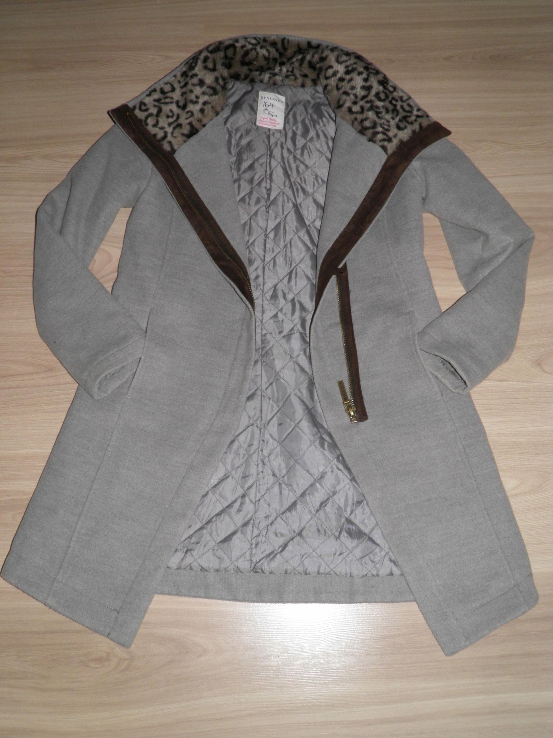 2e3aefc043093 Zimowy szary płaszcz Reserved rozmiar 164/XS/S - 7625998247 ...