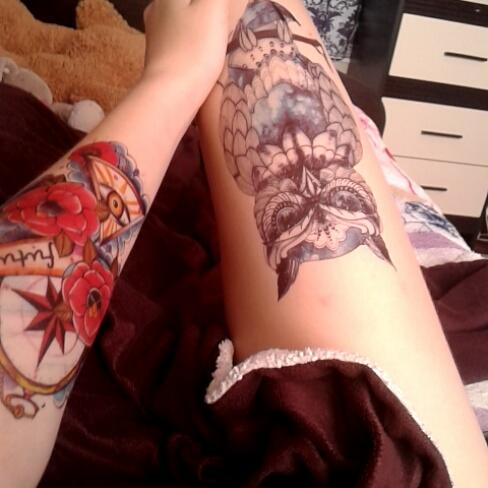 Tatuaz Zmywalny 3d Błękitna Sowa Tatoo 6974680512