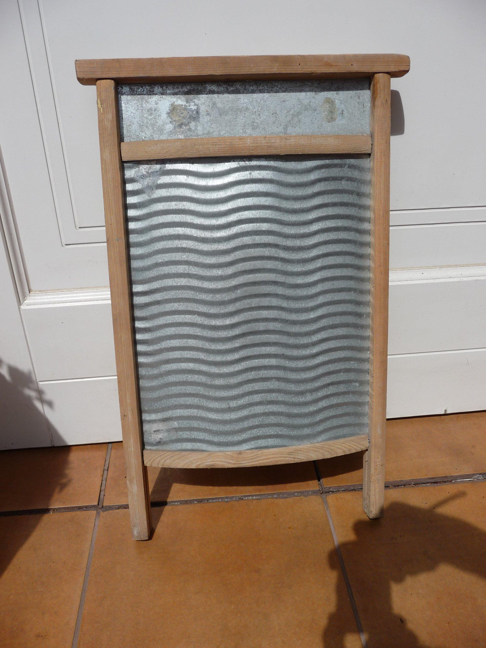 Wspaniały mała drewnianometalowa tara do prania, starocie - 7352815080 FJ43