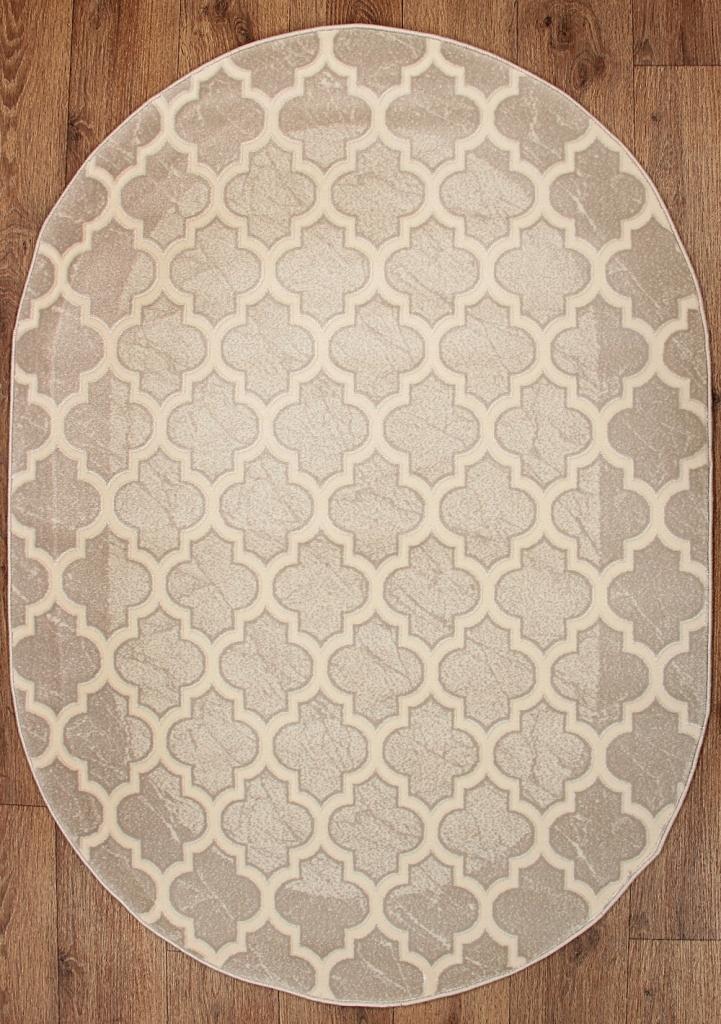 Dywan Owalny Roxy Marokański Wzór 160x220 Beż Krem
