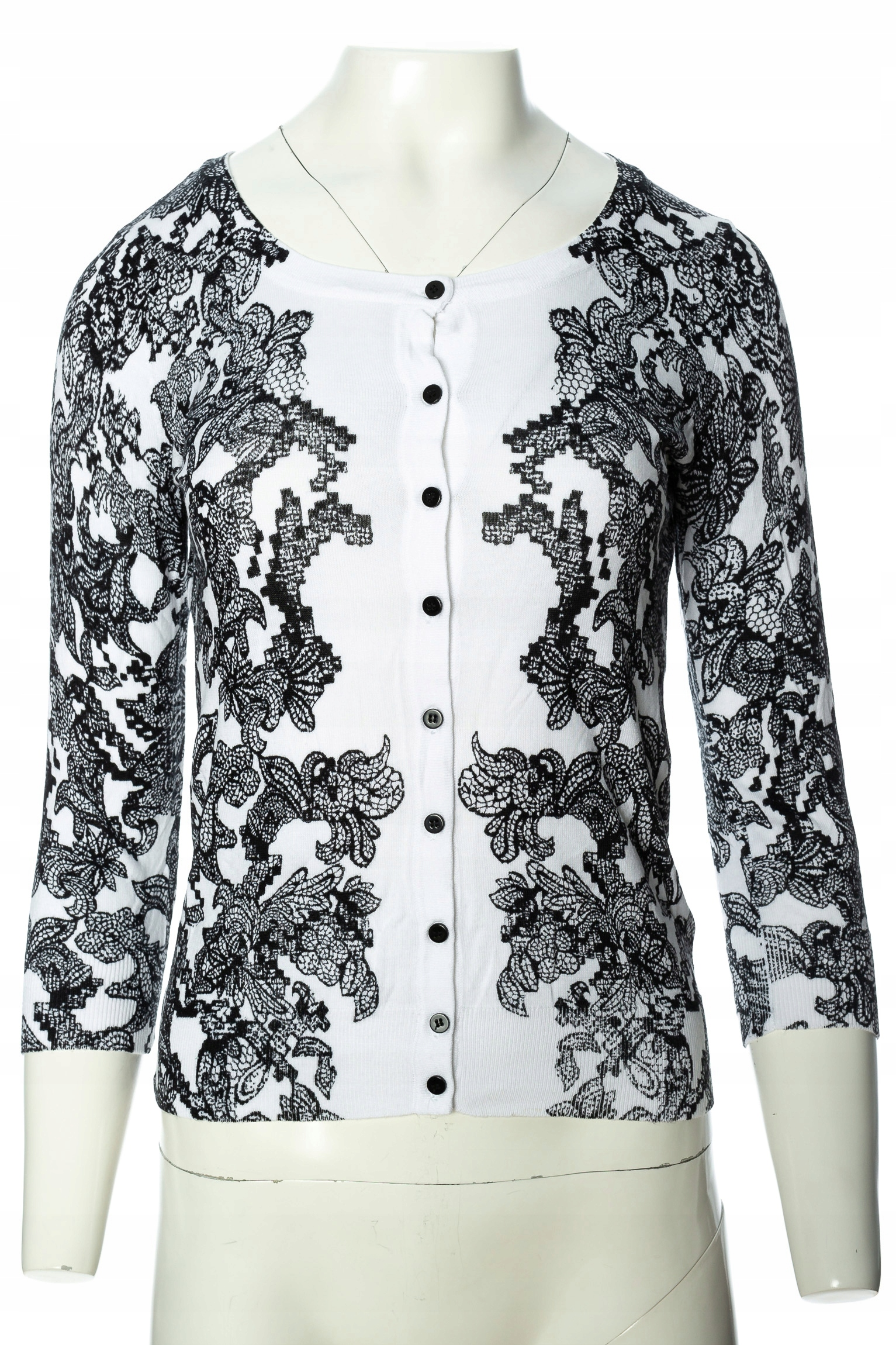 H&M biało czarny rozpinany sweterek r.SM 7472502088