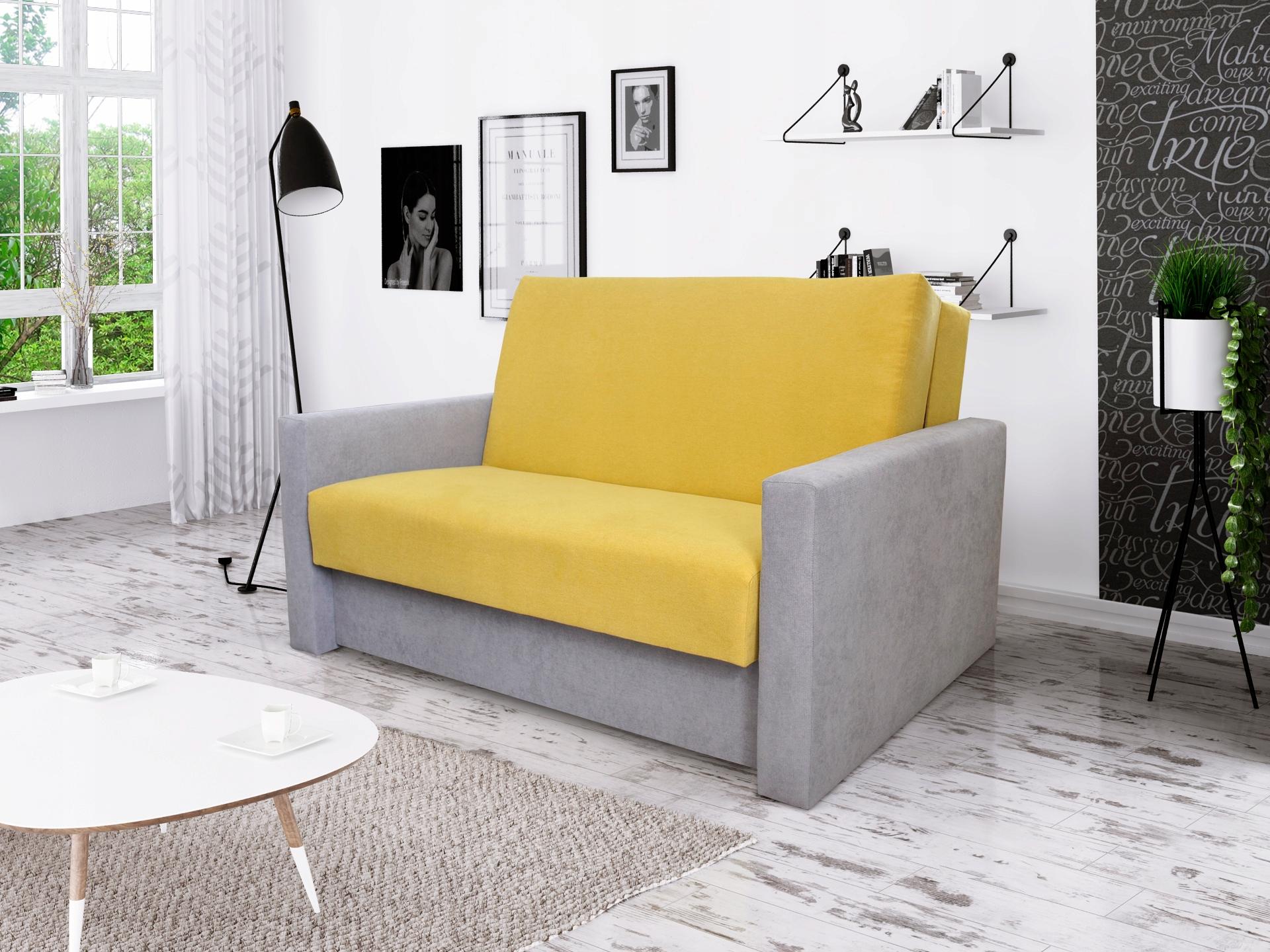 Sofa Sylwia 2 Rozkładana żółto Szara 7608414151