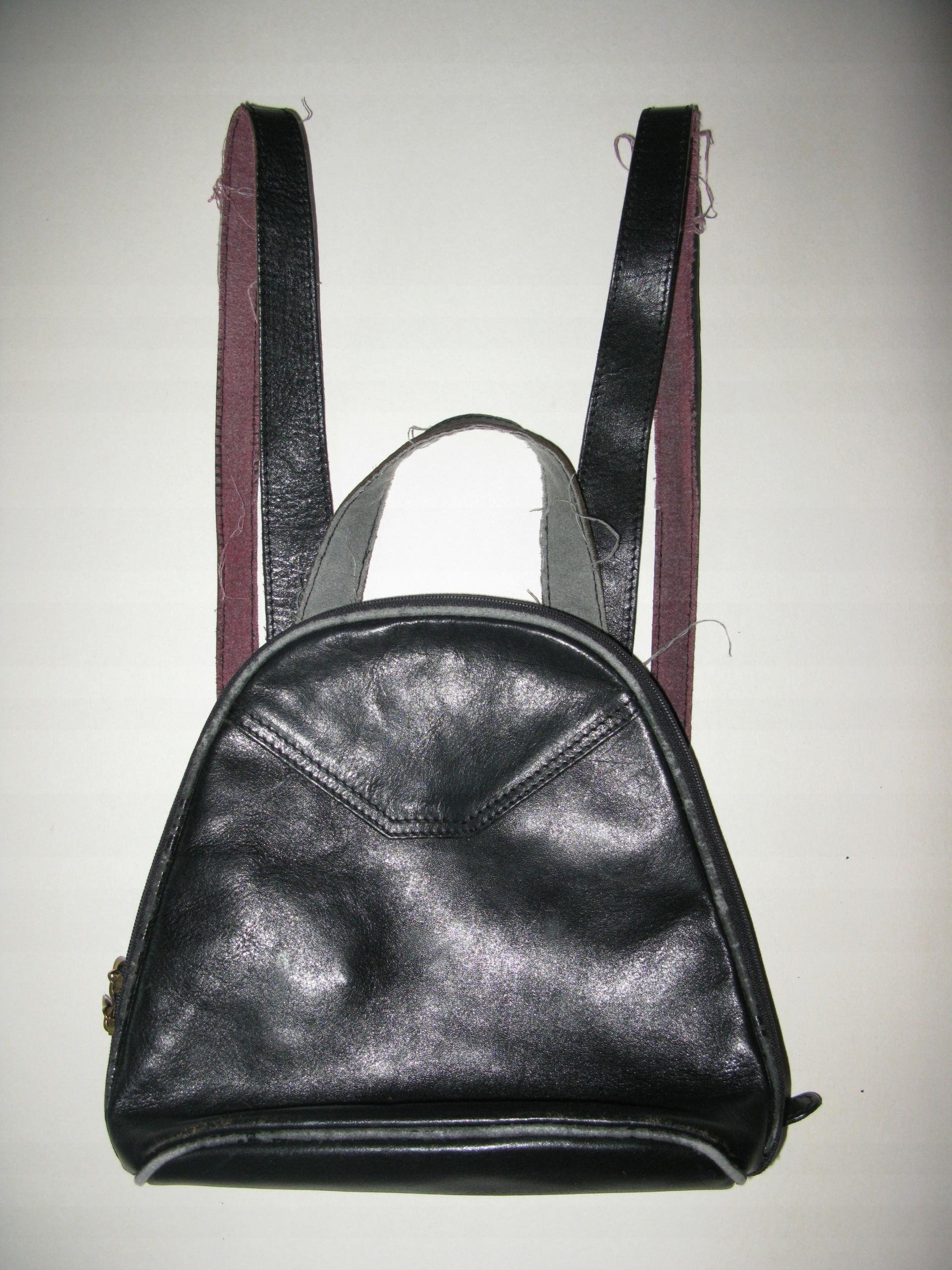 94d1ccb6b1b15 Mały plecaczek vintage, skóra naturalna, czarny - 7574506297 ...