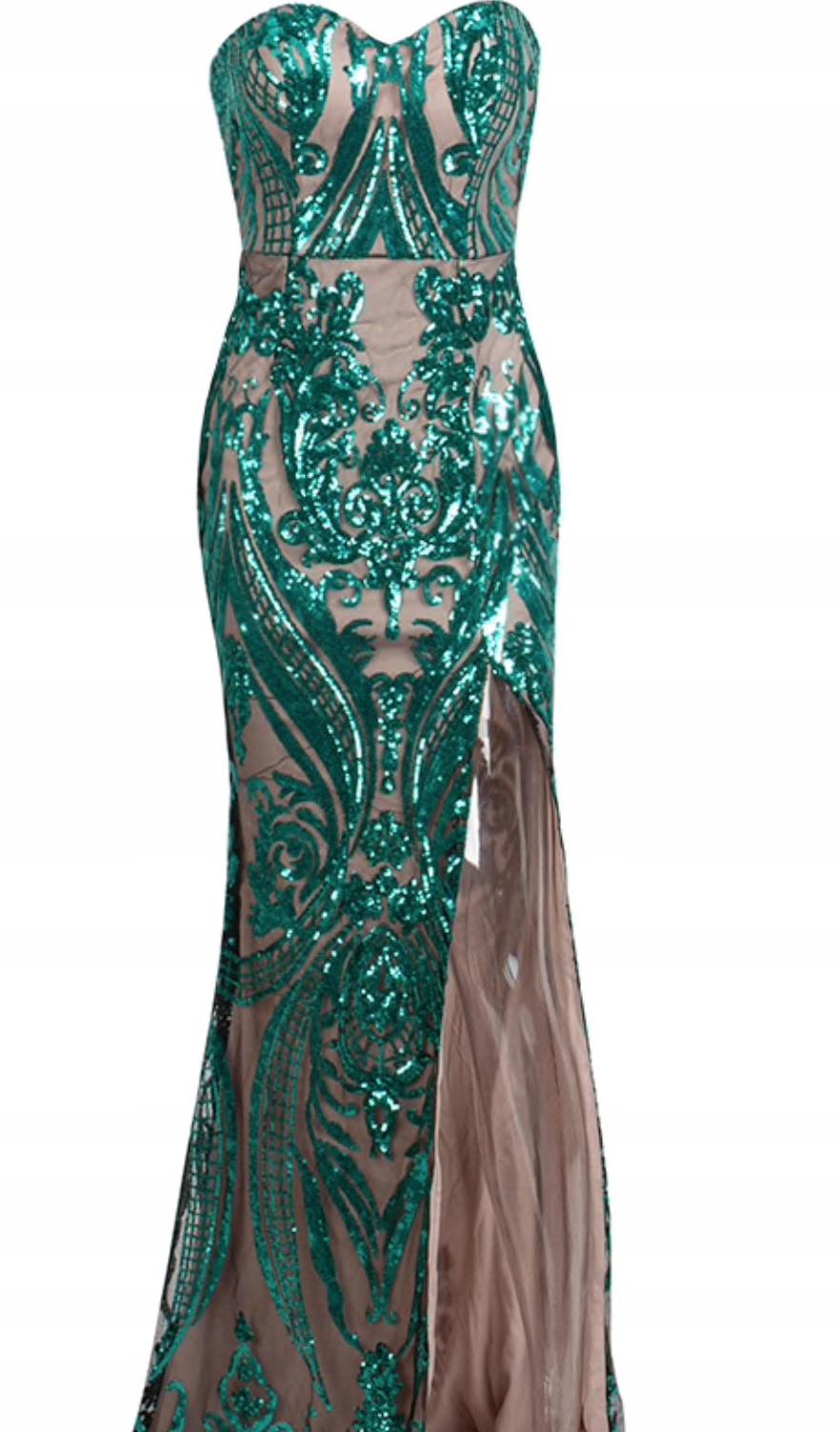 08b968467c sukienka maxi cekiny ornamenty rozcięcie długa xs - 7599848084 ...