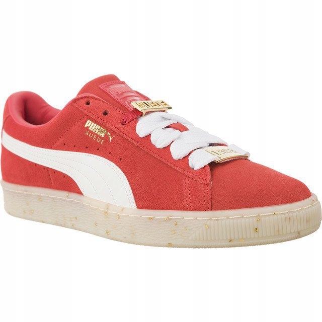 Białe Czerwone Zamszowe Buty Sportowe Puma r.37,5