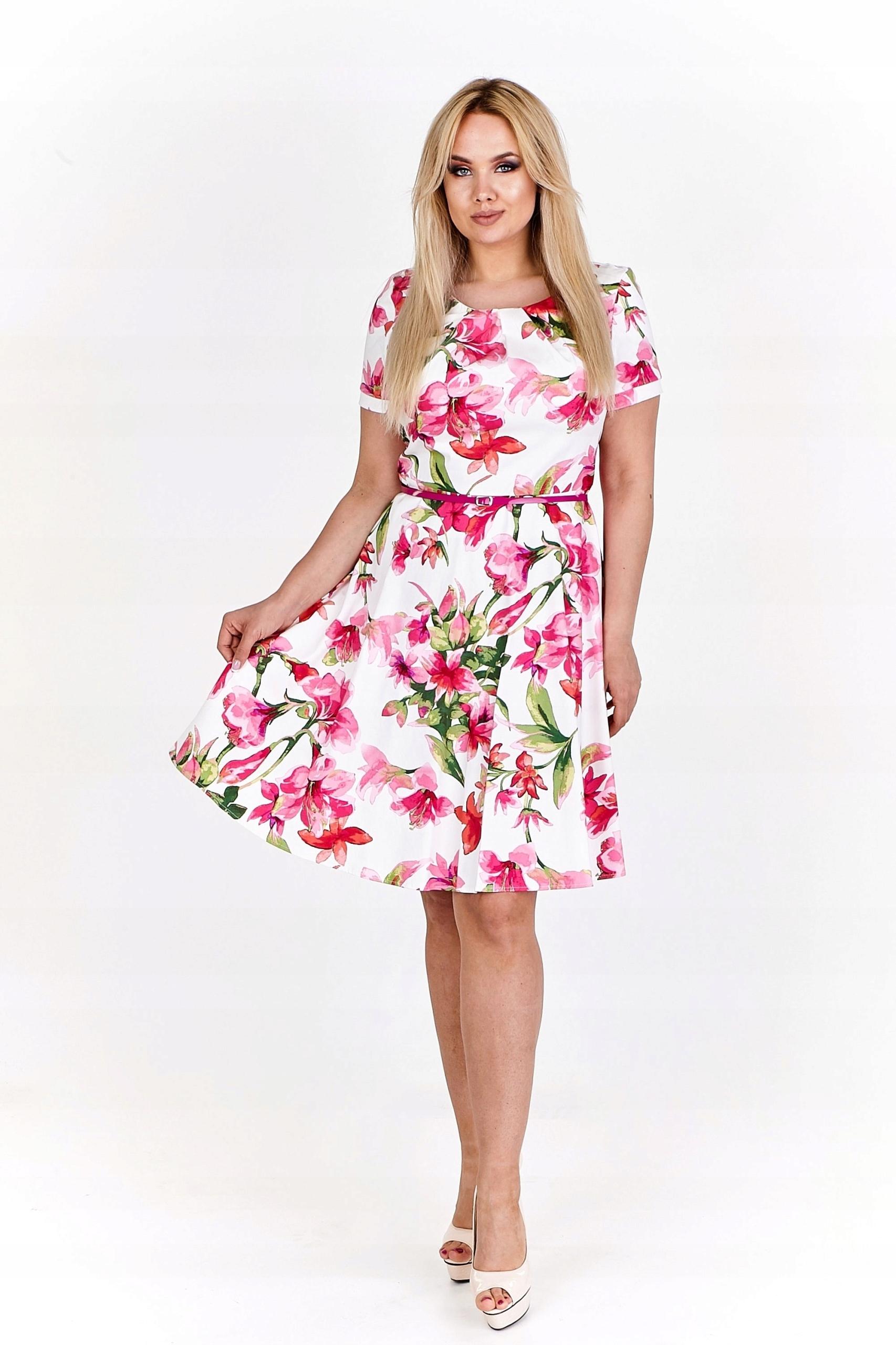 a3f1c7f49c Rozkloszowana sukienka koktajlowa w kwiaty Kremowy - 7451980226 ...