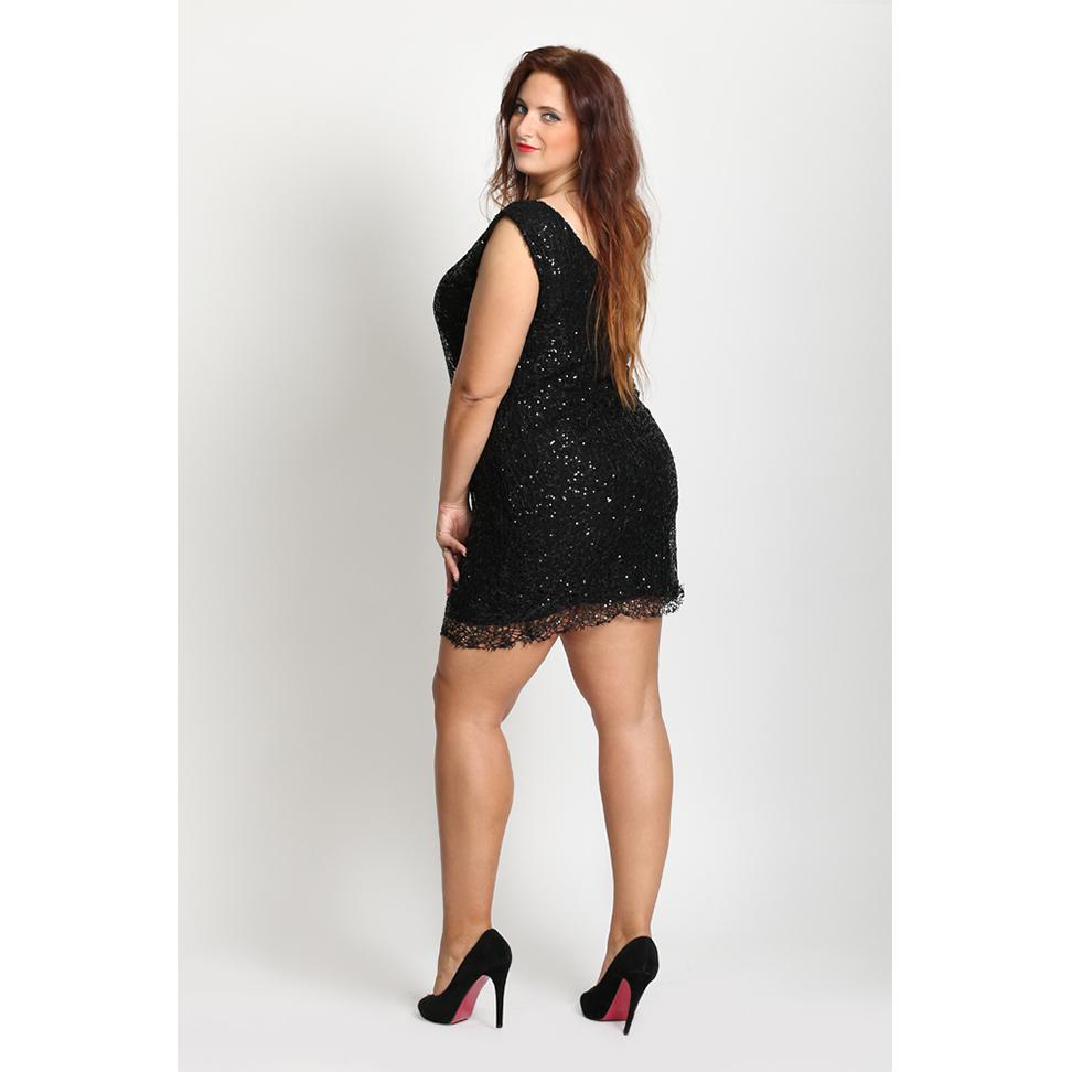 6142582ca0 Mała czarna sukienka SEXI cekiny P29 PLUS SIZE XXL - 7034142401 ...