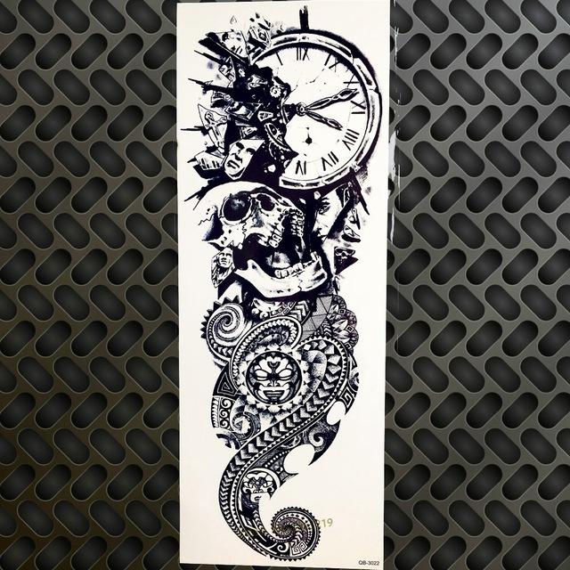 Tatuaż Zmywalny Rękaw Zegar Czaszka Ogon Smoka 7338938630