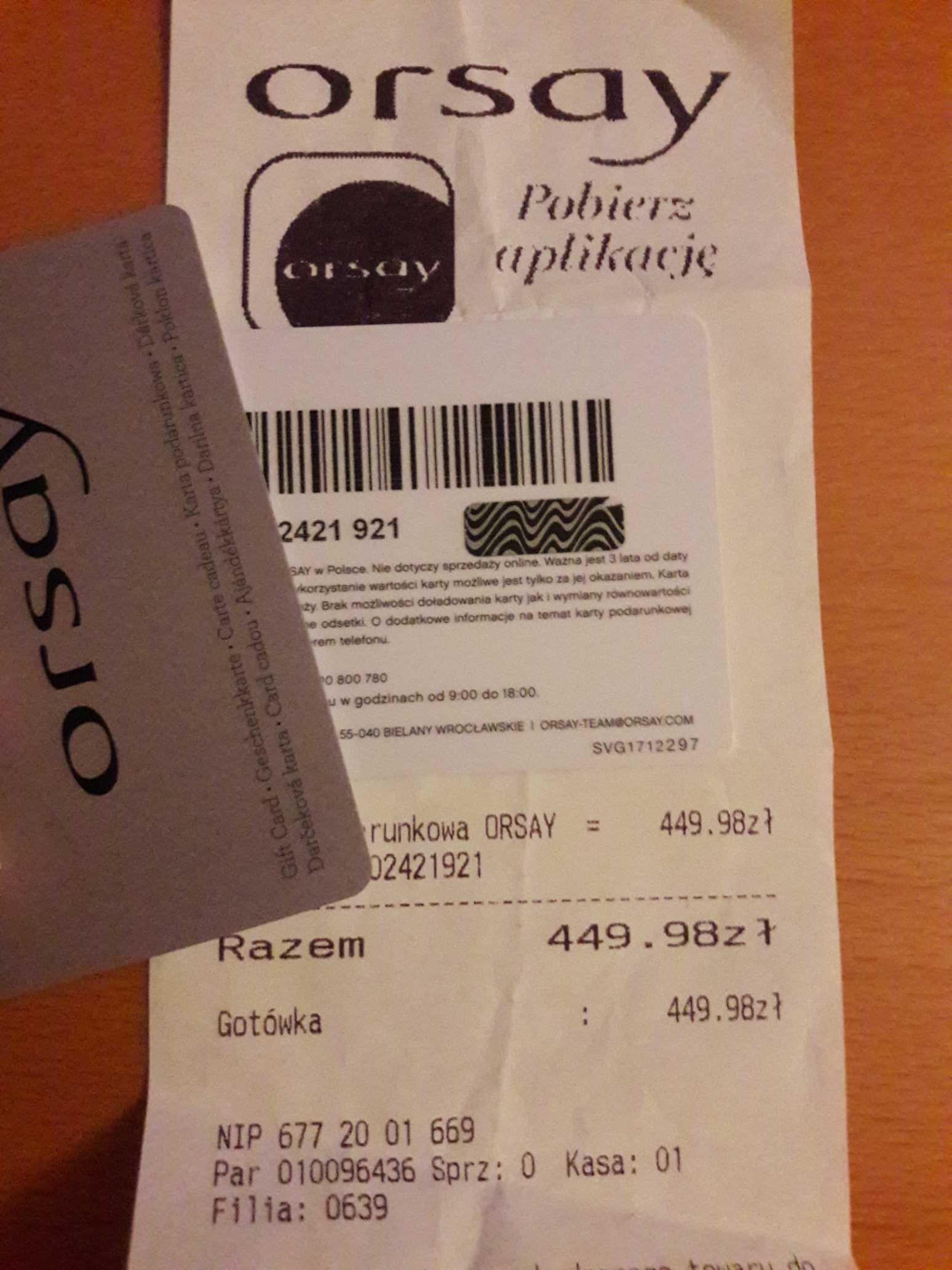 Karta Podarunkowa Bon Voucher Orsay 450zl Okazja 7068030513
