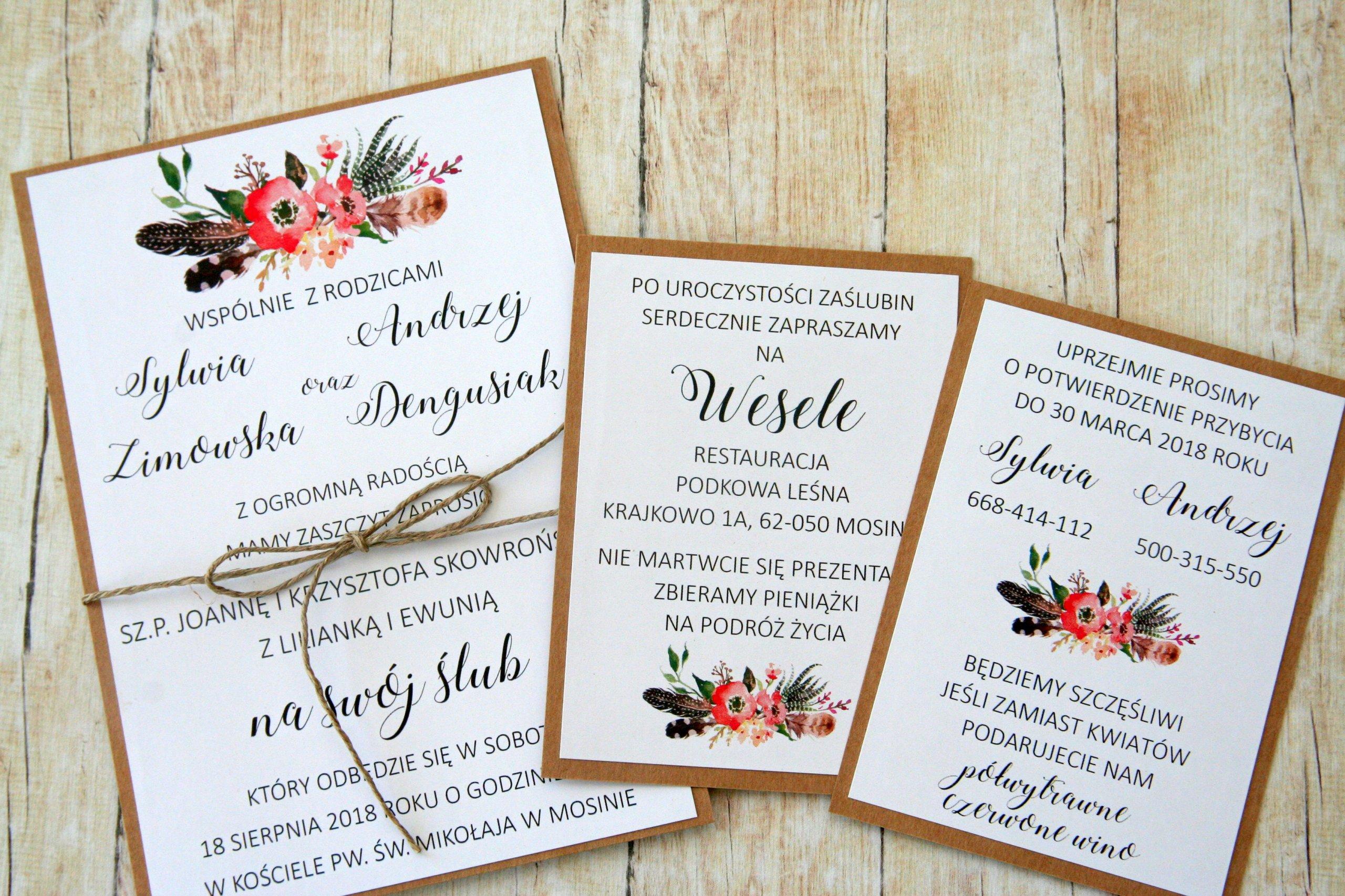 Piękne Eco Zaproszenie Na ślub I Wesele Boho 7360108878