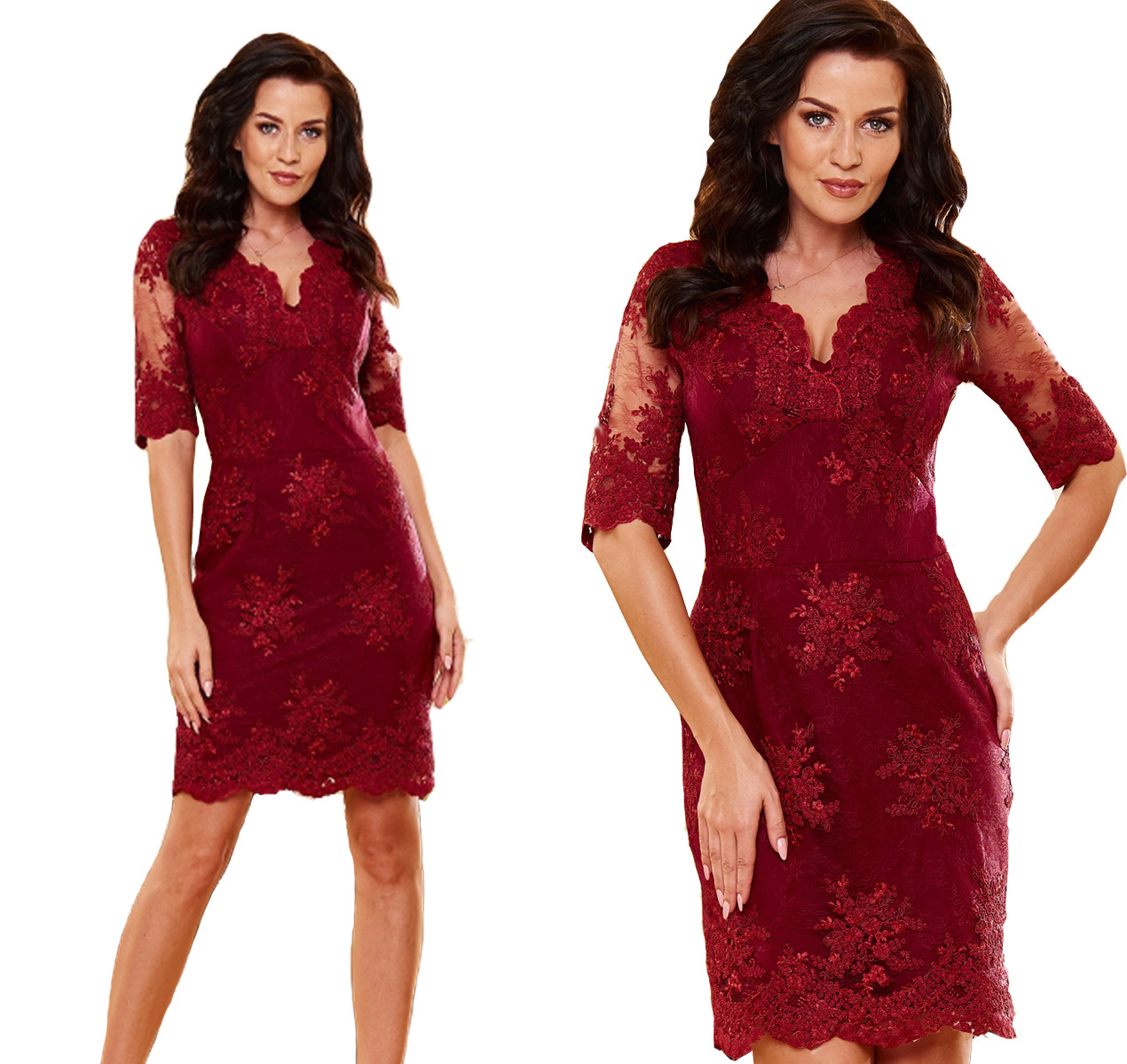 3e32eefff5 Sukienka elegancka koronkowa modna 46