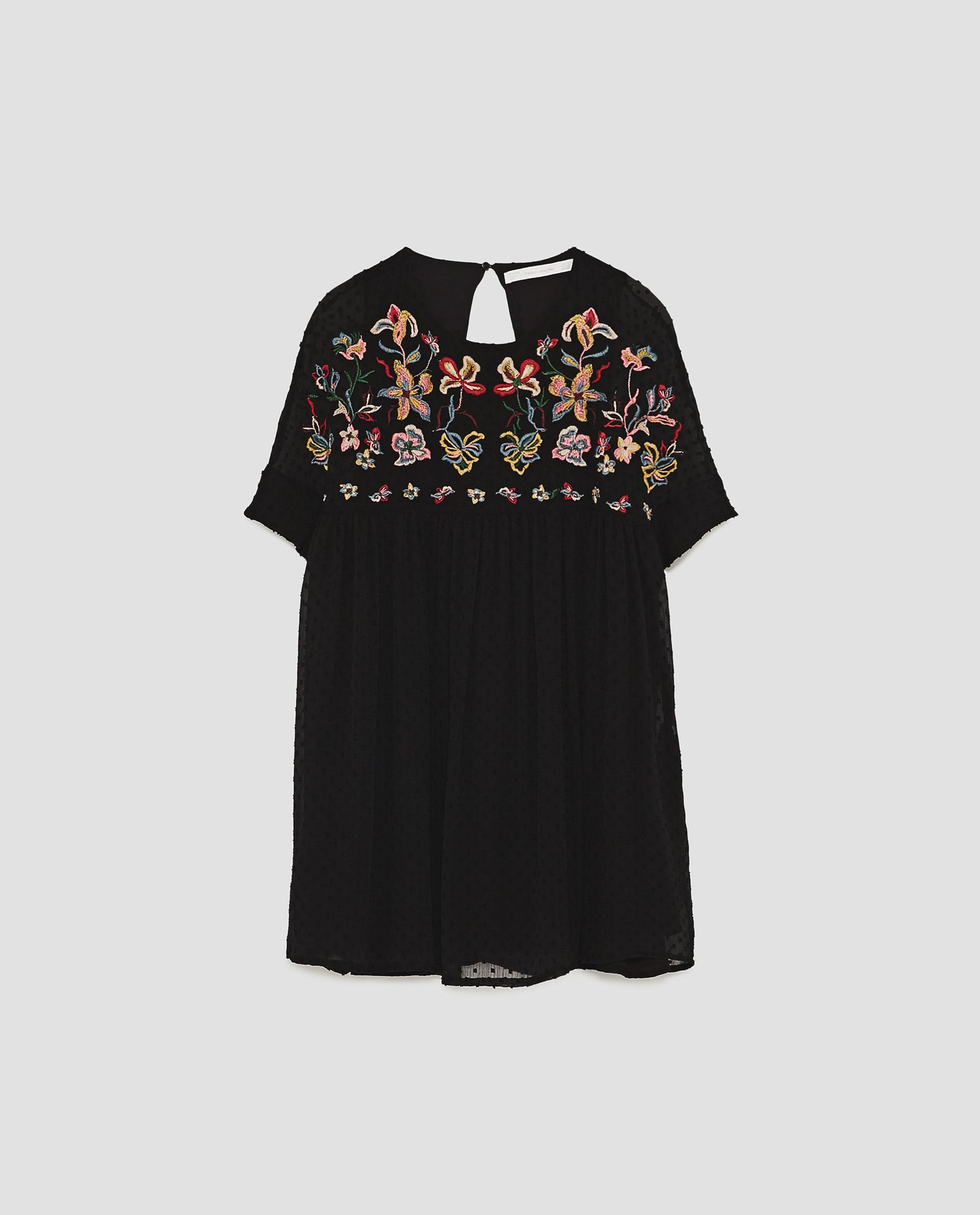 aaf26ee69a Zara sukienka z tkaniny plumeti z haftem 38 M - 7404437685 ...
