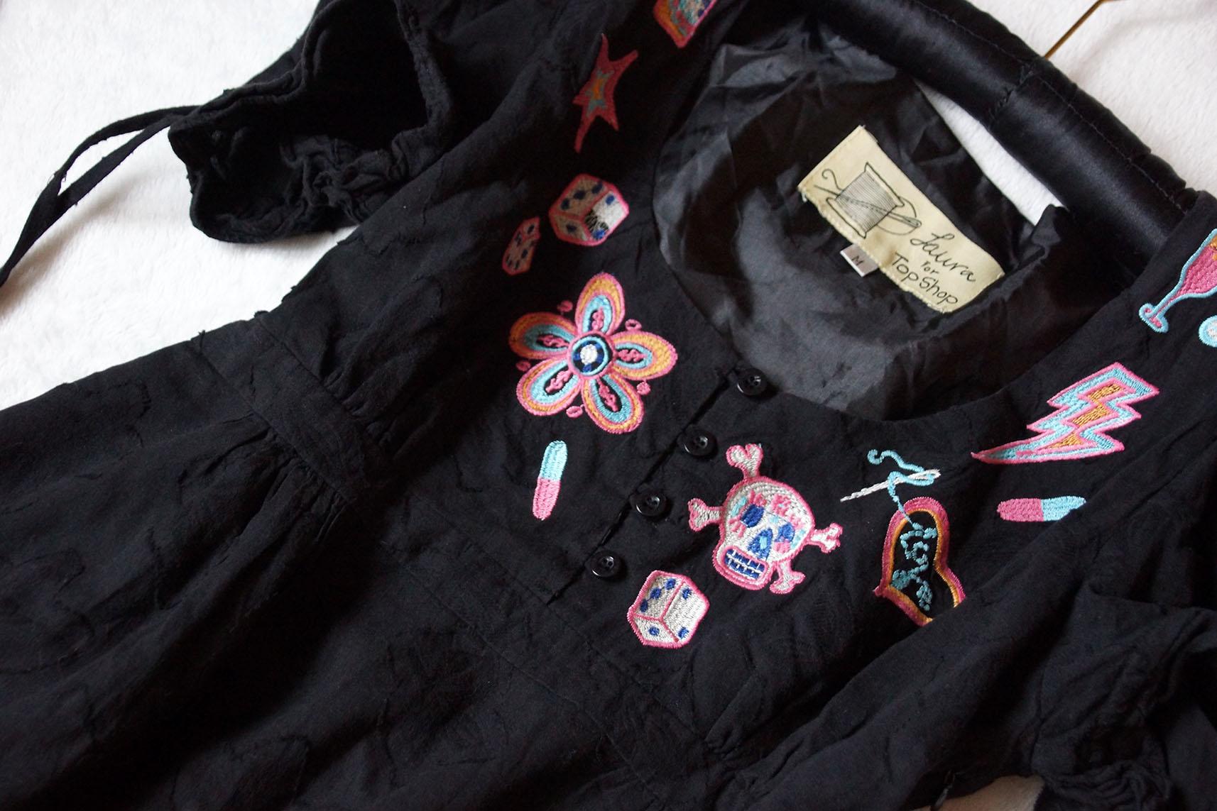 ab28990780 Laura for TOP SHOP Sukienka Hafty Czarna Pin up 38 - 7238952418 ...