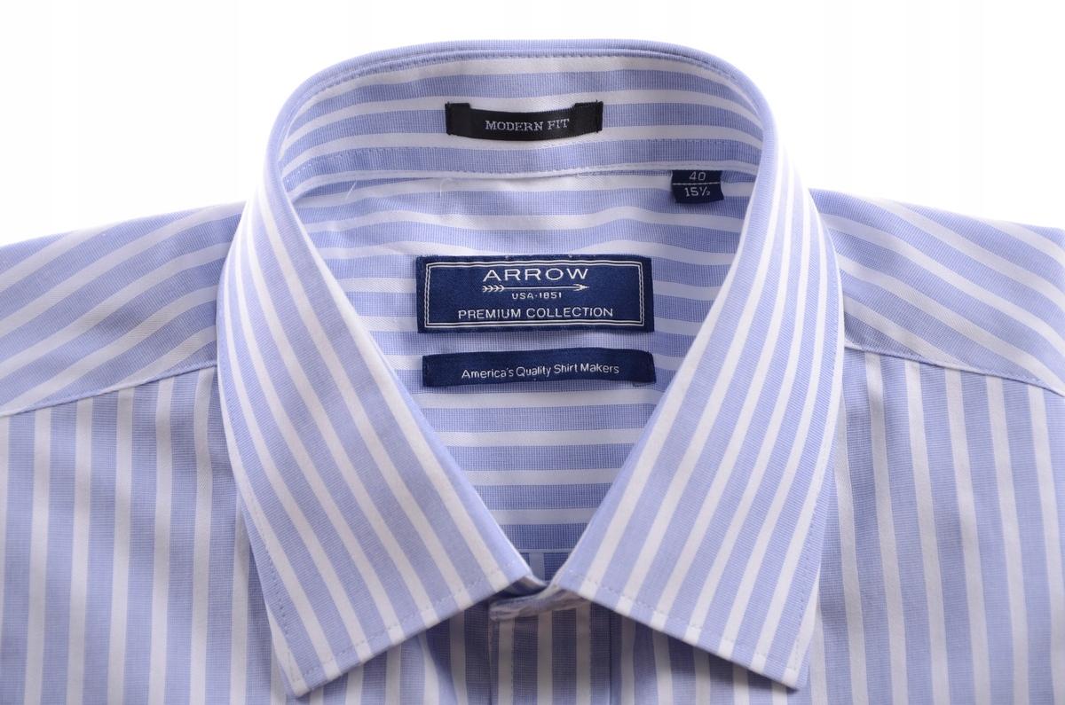 ARROW błękitna koszula męska w prążki SLIM k 40 7562086029  ghPh2