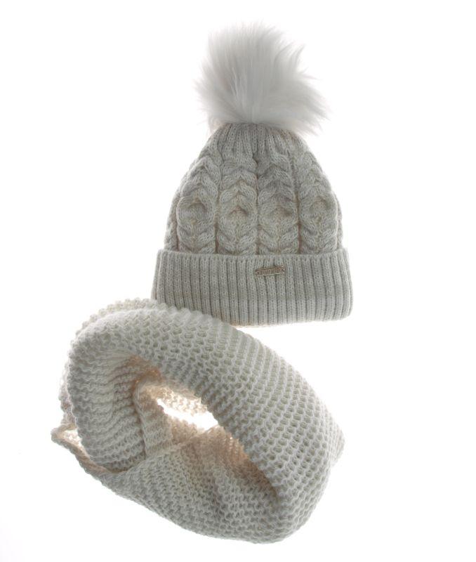 bardzo popularny najtańszy gorąca sprzedaż online KOMPLET czapka ZIMOWA kremowa WARKOCZE plus KOMIN ...