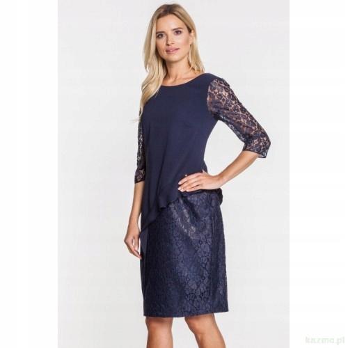 cf80349a8a Granatowa KORONKOWA elegancka sukienka roz. 48 - 7683234396 ...