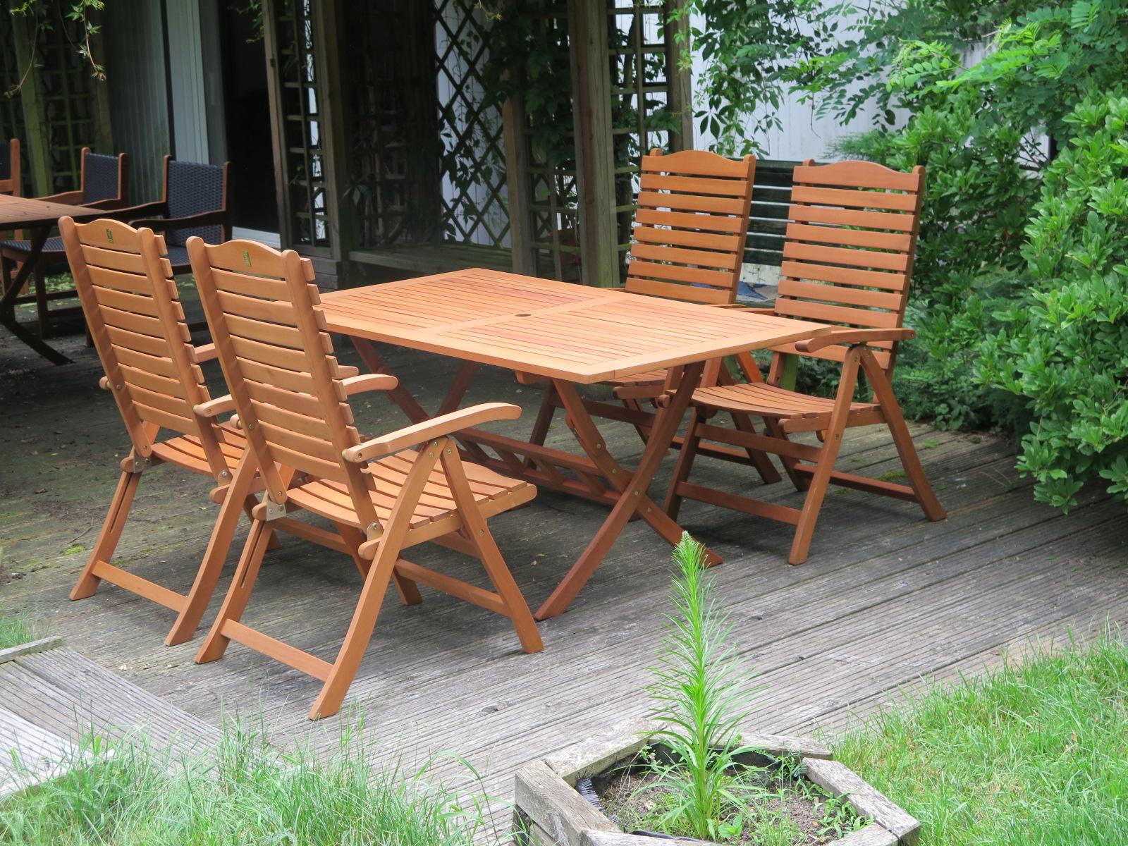 Meble Ogrodowe Tarasowe Drewniane Stół 4 Krzesła