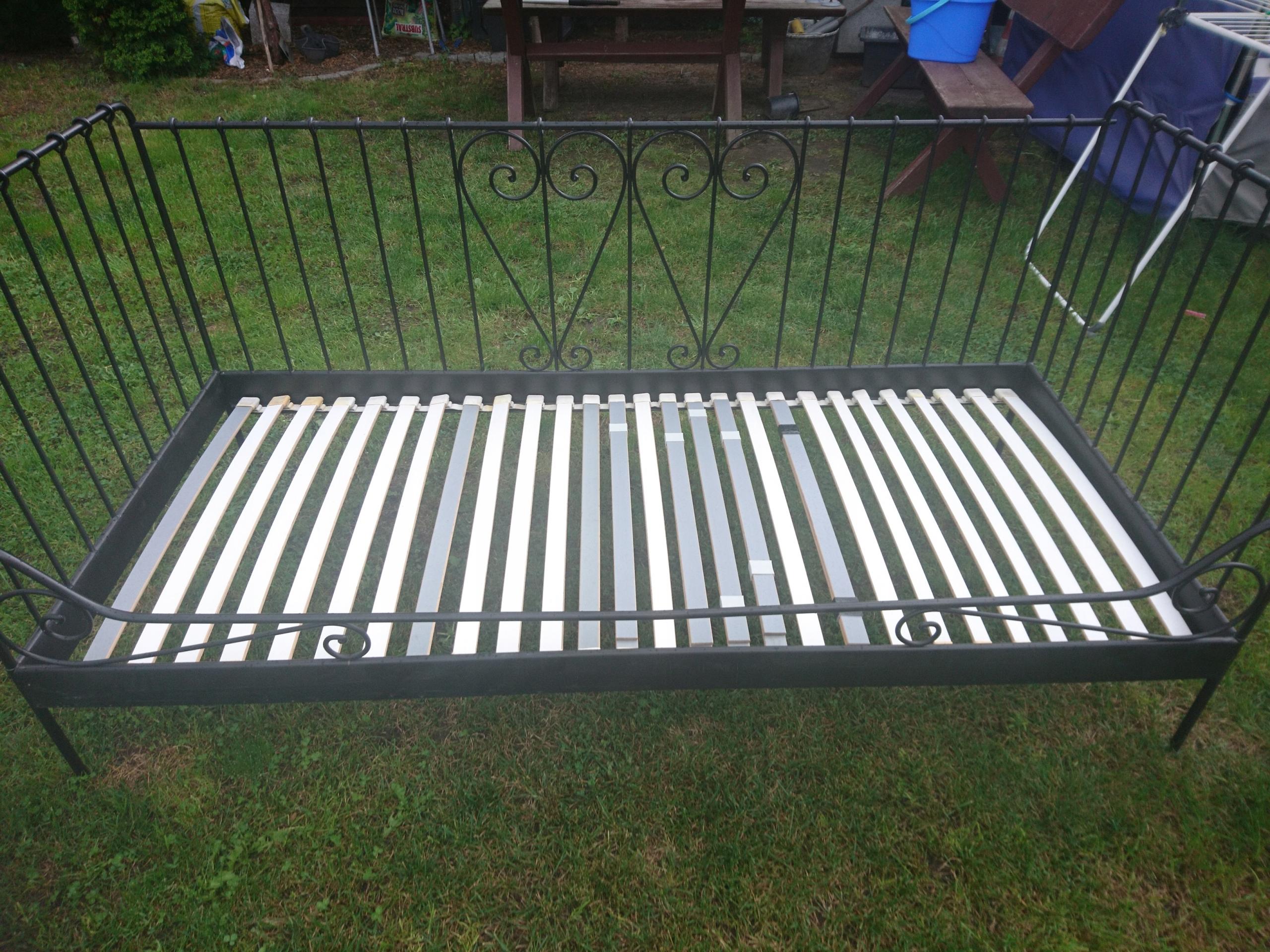 Ikea łóżko Metalowe Drewniany Stelaż Okazja