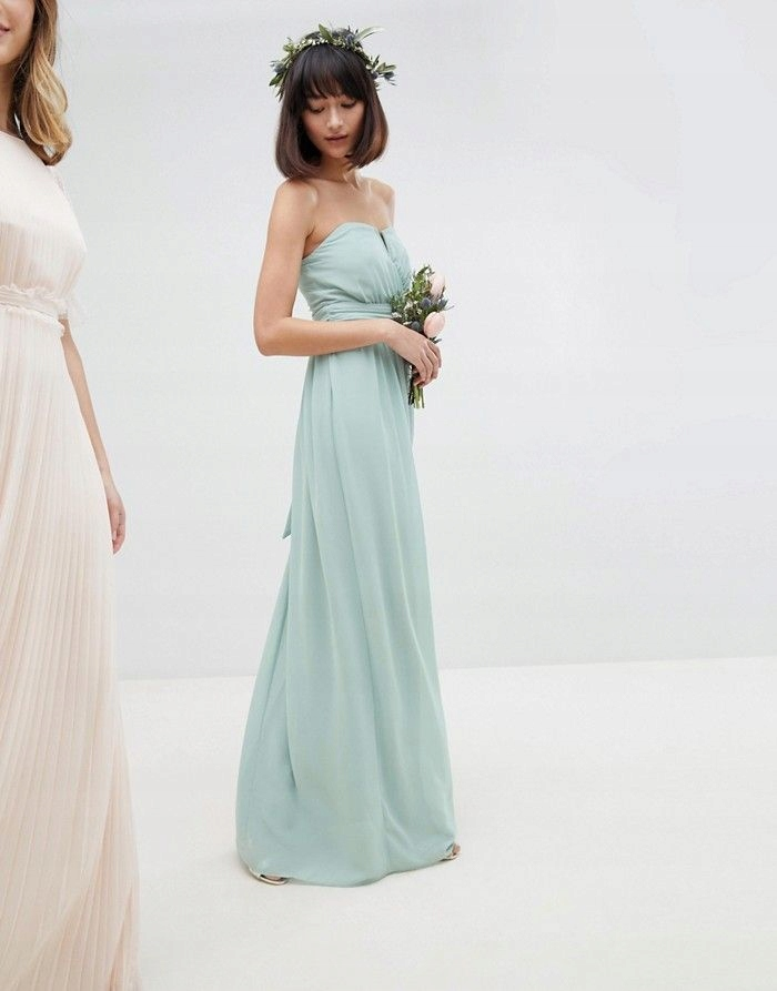 7aa0e174125777 TFNC Miętowa maxi suknia odkryte ramiona(38) - 7684187177 ...
