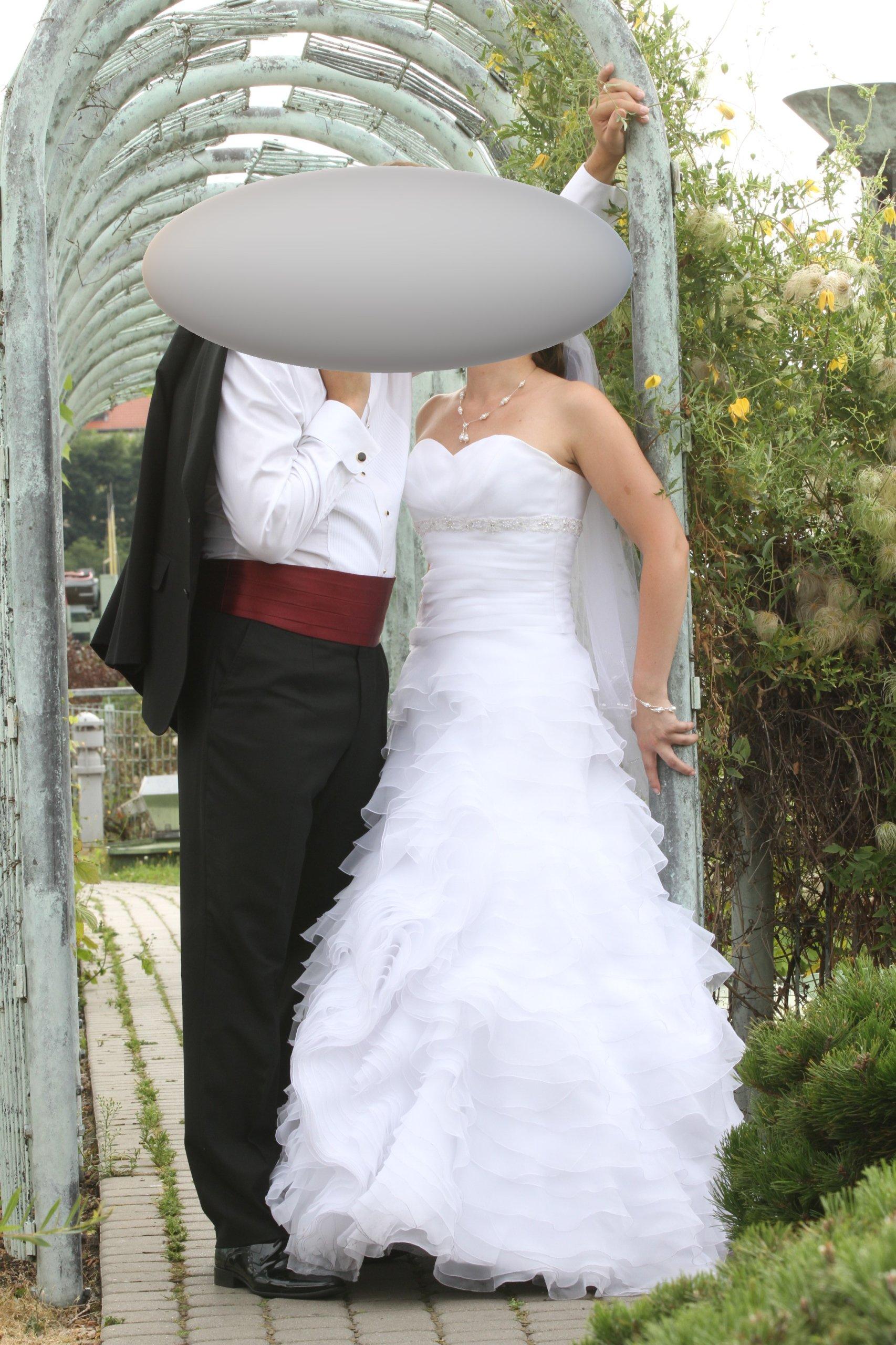 śliczna Suknia ślubna Herms Z Falbanami R36 Biała 6991246280