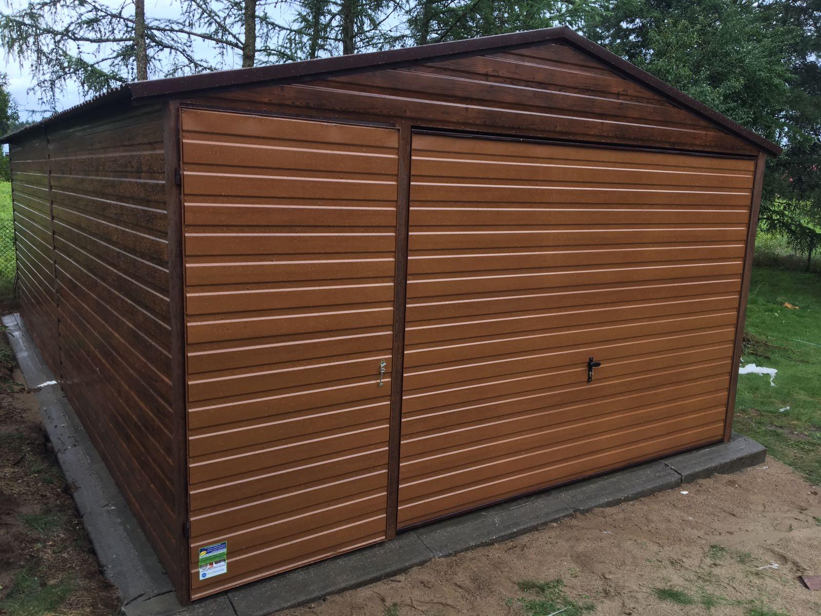 Garaż Blaszany Drewnopodobny 4x7 Złoty Dąb Orzech 7265853924
