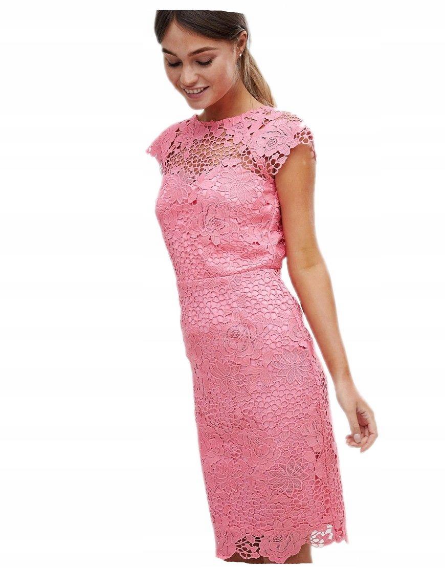 27c8f6fb72 PAPER DOLLS sukienka MIDI koronkowa KORALOWA 36 - 7328205677 ...