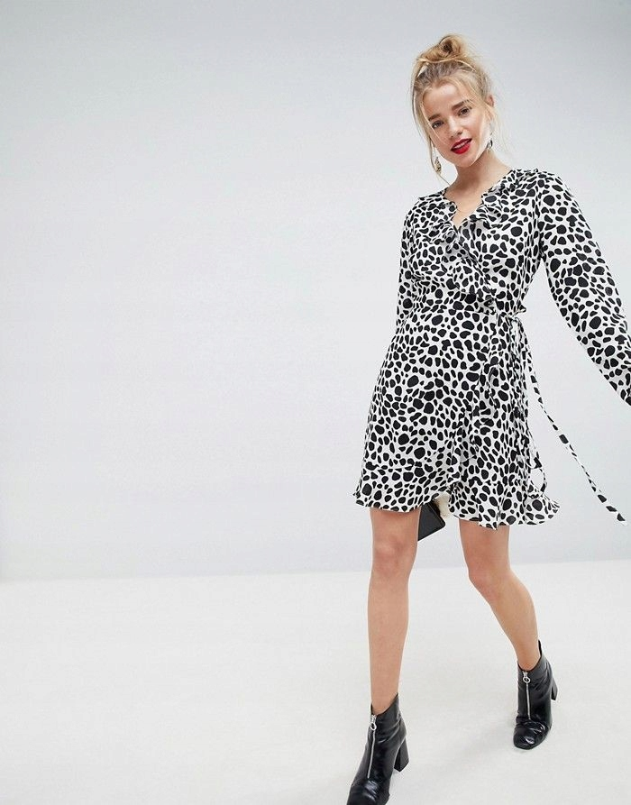 9dd8ec9fd2 ASO Czarno biała sukienka falbana pepitka (46) - 7672809319 ...