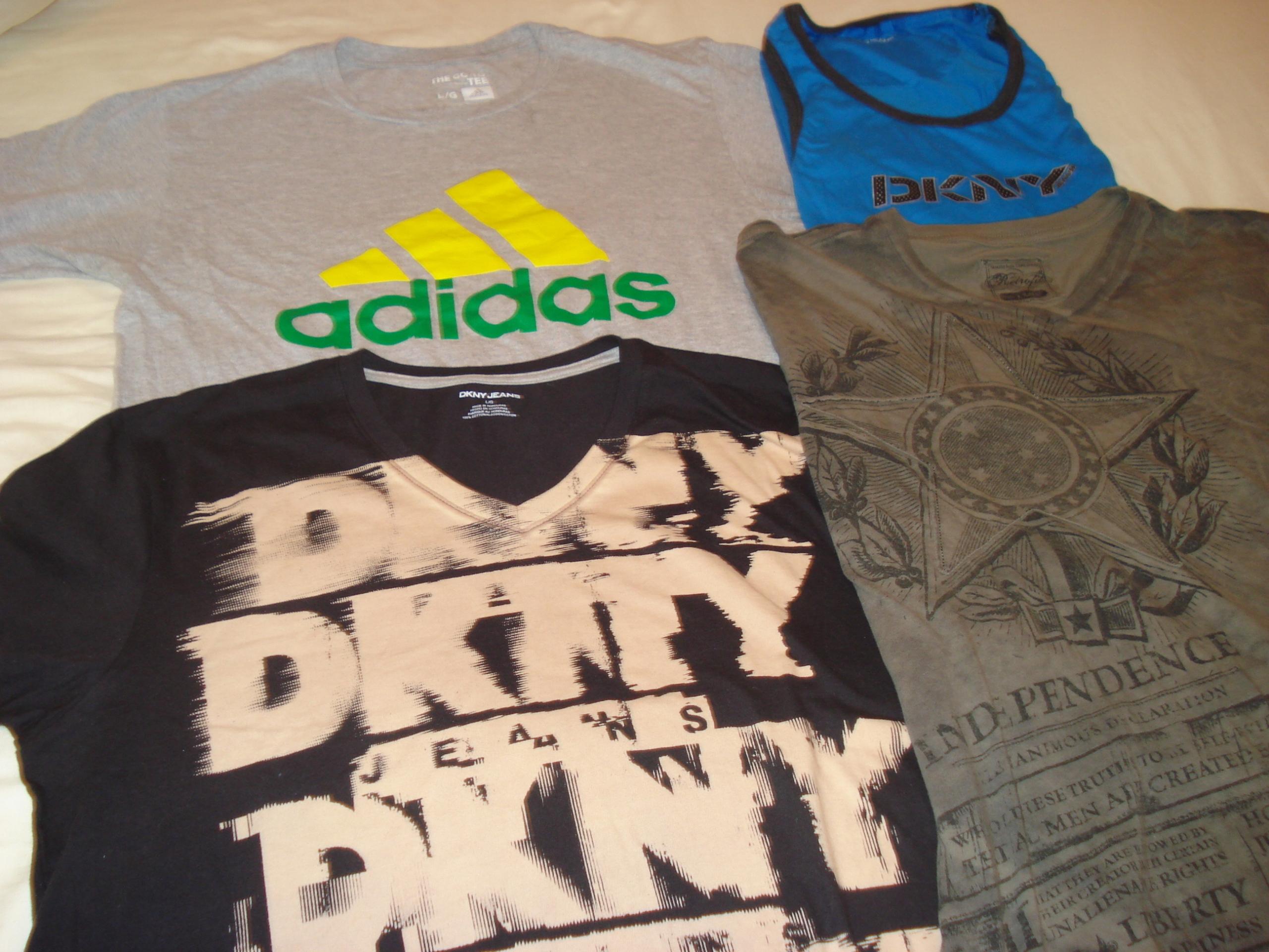 USA T shirt meskie L 4szt: DKNY 2,Adidas 1.Milit 1