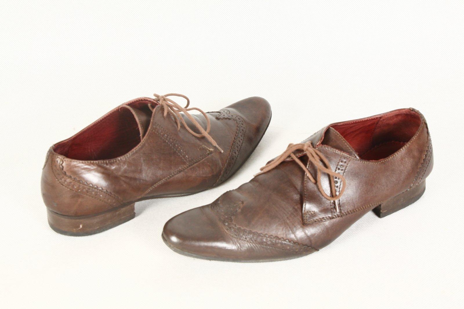 7b62008178aae zara buty męskie skórzane oksfordy basic brąz 42 - 7608827461 ...