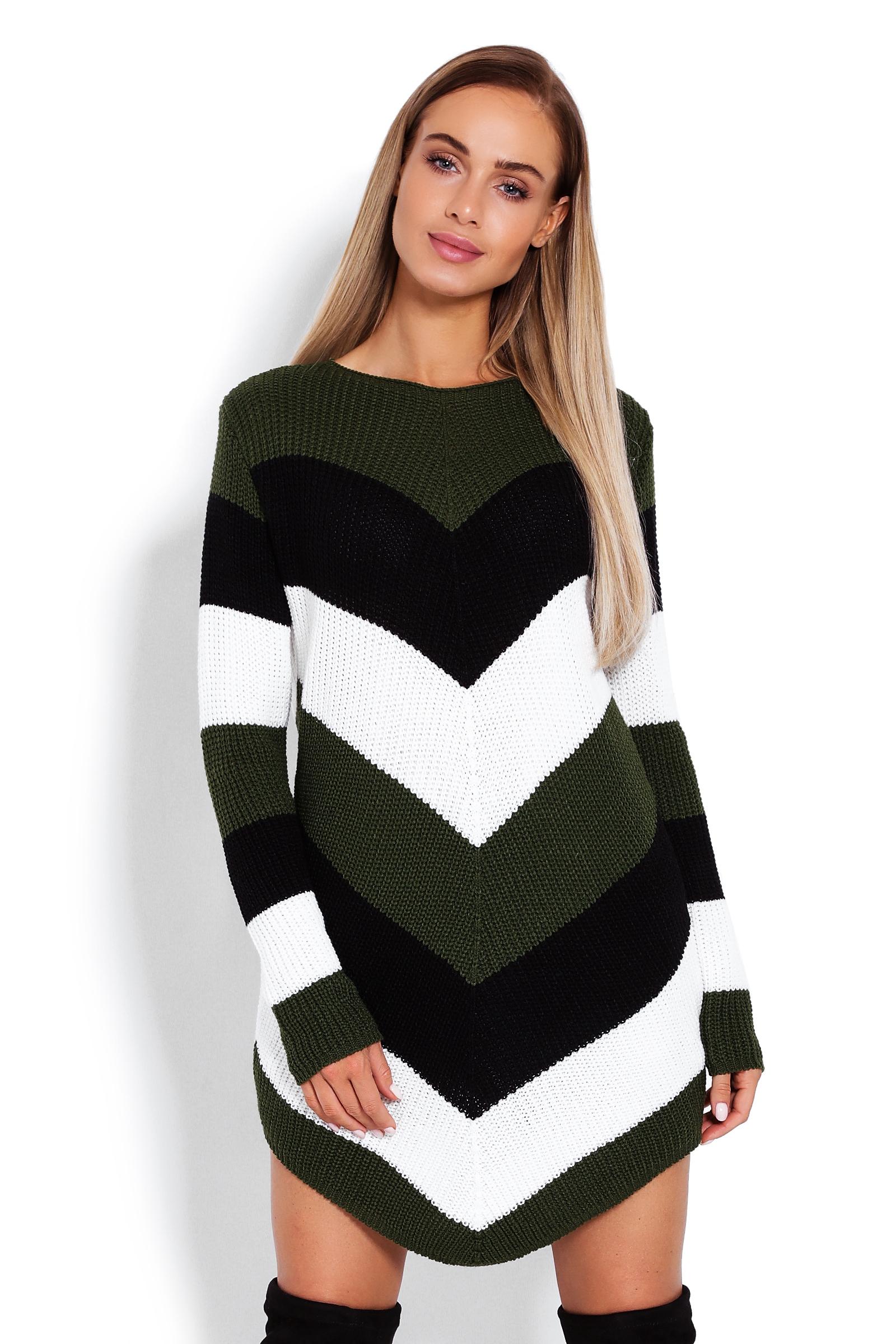 b44c19c9 Zaokrąglony sweter w skośne pasy oversize khaki - 7582249990 ...