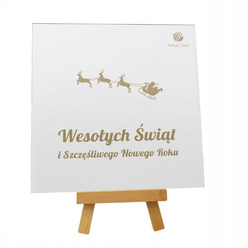 """Kartka Świąteczna """"Jadą Sanie"""" z logo"""