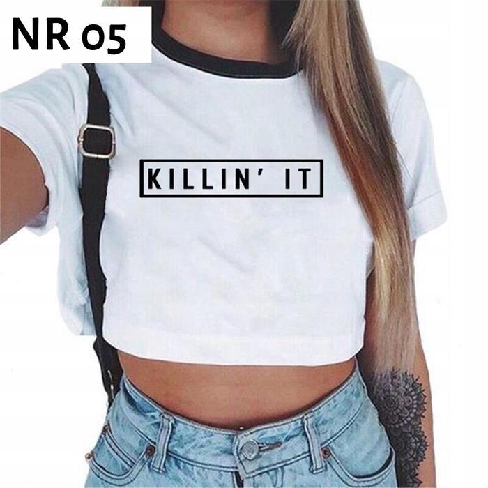 Seksowna Koszulka Crop Top Napisy Brzuch L B30 7531379395 Oficjalne Archiwum Allegro